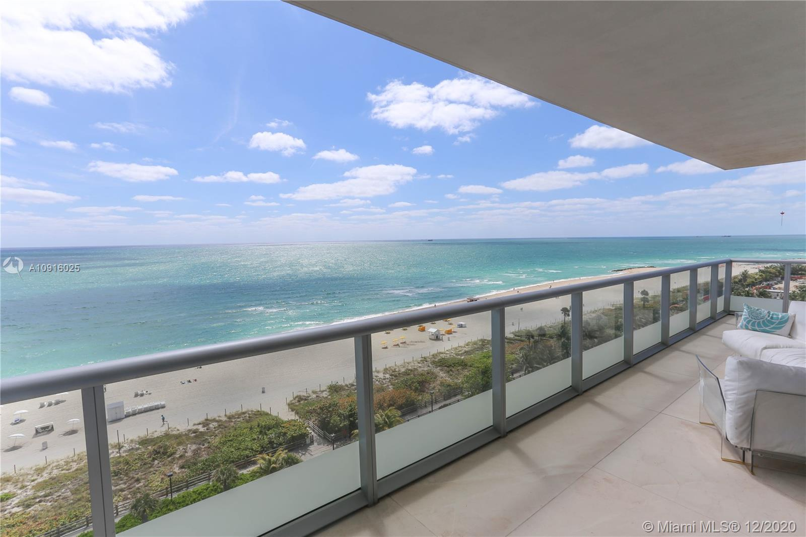 Extremely rare direct ocean view Southeast corner 3 bedrooms 3.5 bathrooms Caribbean South Beach unit. Tastefully designed 2326 sf interiors 800+sf balcony has European kitchen with Miele appliances, Sub-Zero gas range, Marble Floors. The building offers the state of the art gym, business center, beach service, pool, valet service and 24 hr front desk, private wine cellar. Walking distance from Soho House, Fontainebleau, Faena, and the Edition Hotel.
