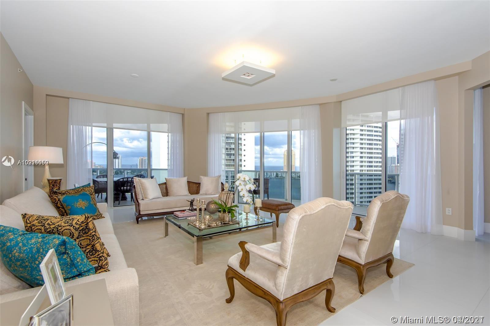 Spectacular 3 bedrooms and 3.5 baths overlooking the intracoastal and the City skyline, professionally furnished, white large stone floors thought out the entire unit, open kitchen ,Built in walk in Closets, large balconies,Impact windows all around, Private Foyer,Private elevators, Enjoy the Williams Island Luxurious Life Style... 2 Restaurants, Tennis, Marina, Fitness Center, Indoor and Outdoor Swimming Pool,Sauna, Beaty Saloon... 24 HRS Security and Valet, The Best Views of the Island...