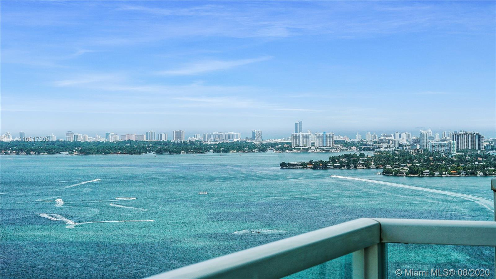 Phenomenal True 3 BR and full 3 BR condo on the 40th floor boasting the Best Views the Downtown Edgewater area has to offer. Bay and water views from two balconies and lots of natural light. Ceramic Tile throughout, custom made walk in closets in all rooms, his and her showers in master. Two pools, two story gym with sauna, multiple party rooms and common areas. Water, cable, sewer, trash, basic cable, and internet included in monthly maintenance. Perfect location across the street from Margaret Pace Park. Minutes to Brickell, the beaches, MIA airport, Midtown, Wynwood. Video Walk through Available.