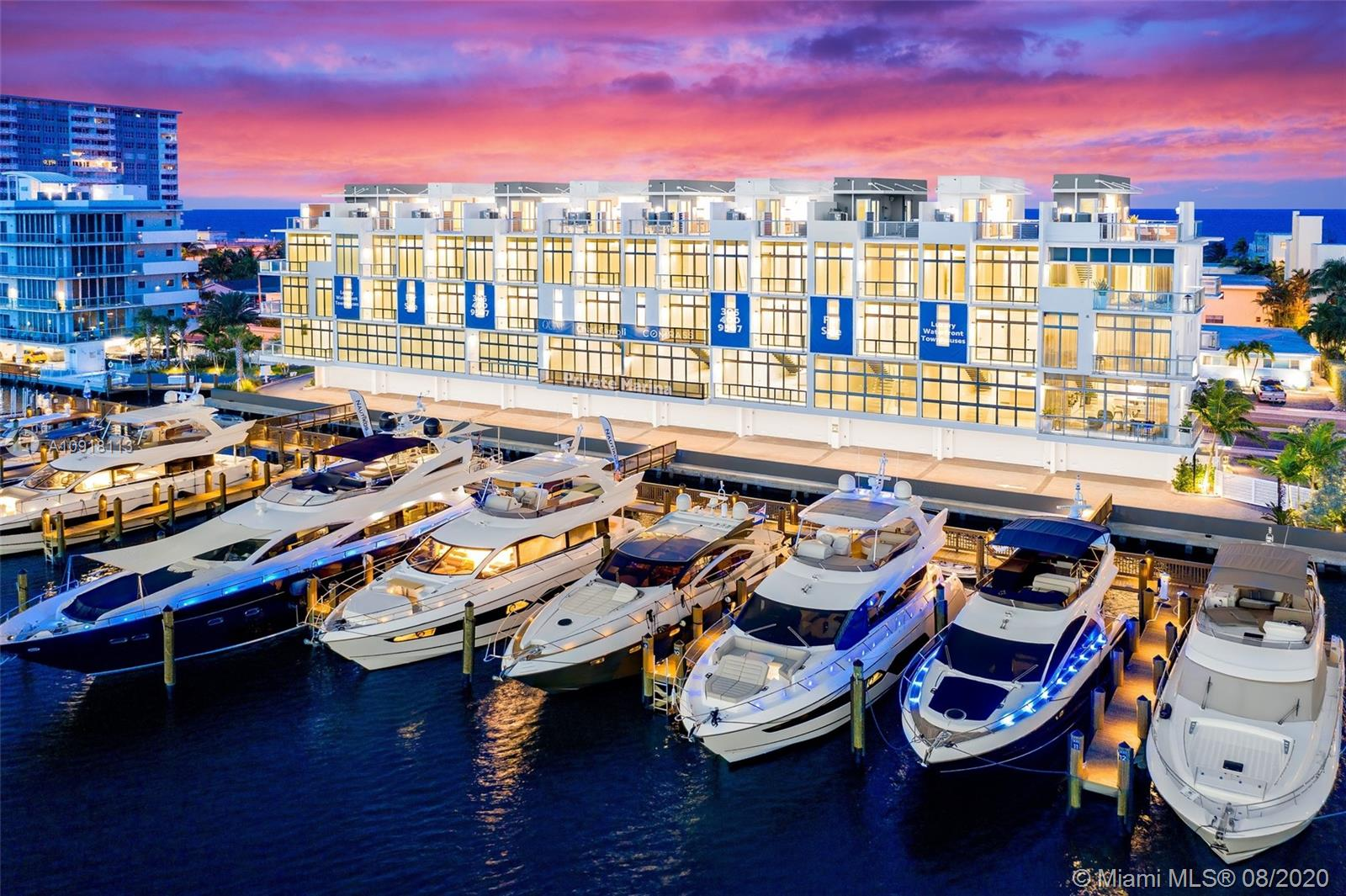 Introducing Quint Collection Hollywood, 10 luxury townhouses with a private marina. Unobstructed views of the Intracoastal & Atlantic Ocean. Nestled between the best of Miami Beach & Ft Lauderdale, offers the perfect blend of convenience & sophisticated minimalism merged with the ultimate luxury waterfront lifestyle. Custom finishes include Italkraft, Gaggenau appliances, porcelain floors, glass elevator. 5 story residences w/ a sky deck featuring summer kitchen, jacuzzi & entertainment area. Floor plans from 3,100-3,500 SQ FT, 3 bedrooms & 3.5 bathrooms. Residents only marina includes 12 slips between 55-80 FT w/ permitting ready to install lift. 2 car private garage. Walking distance to the best restaurants in Hollywood. Ocean access via ft Lauderdale's Port Everglades just 3 miles north