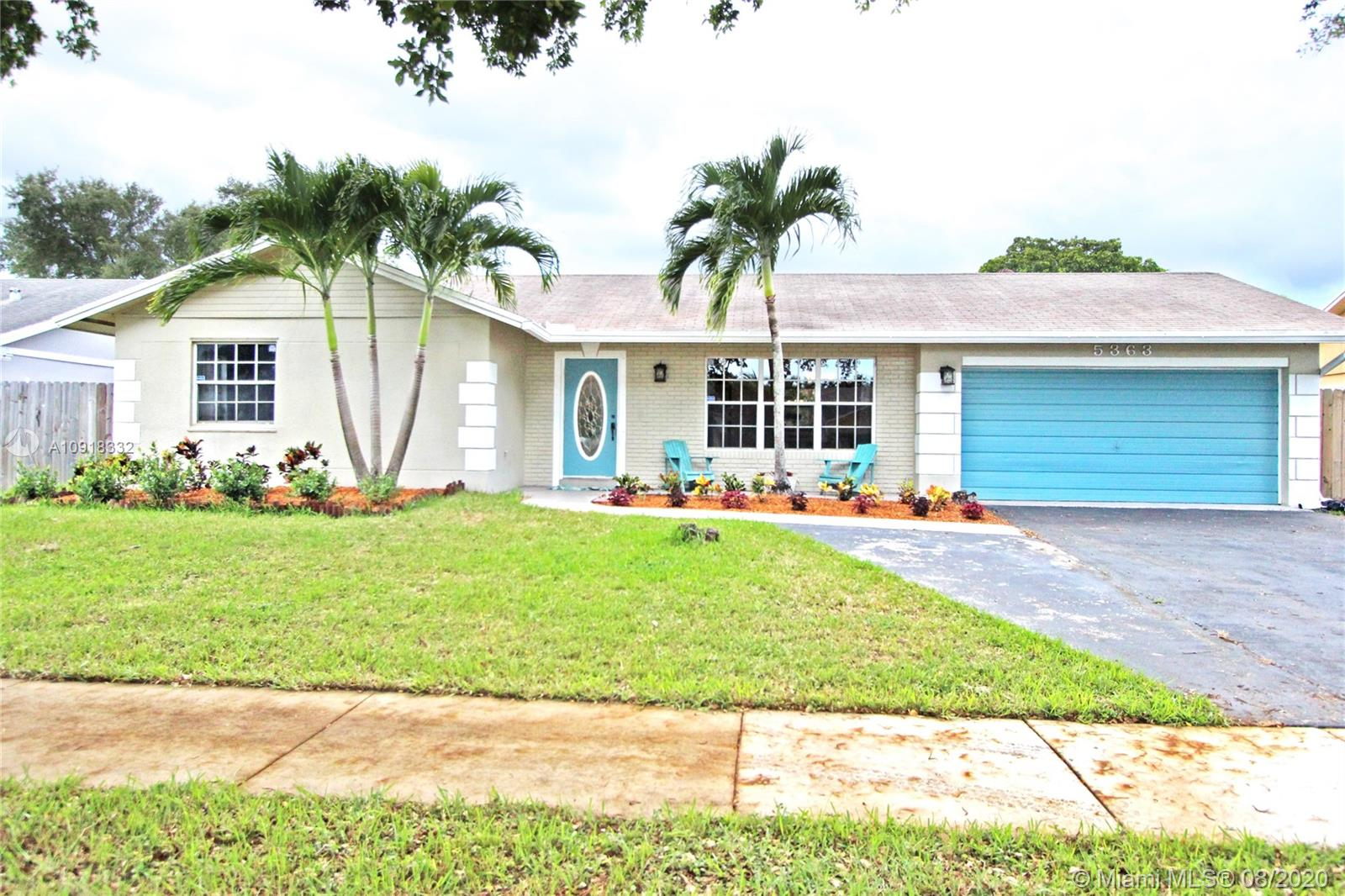 3 bedrooms 2 bathrooms, 2 car garage, pool, tiki hut, outside back patio, closed in back patio, and a lot of guess parking. Located in Cooper City Flamingo Gardens West neighborhood.