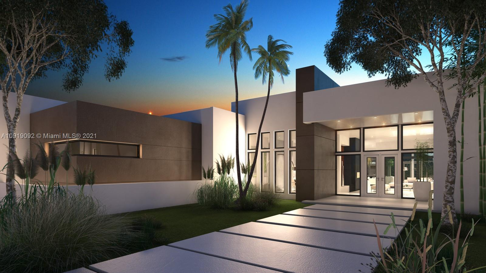 BRAND NEW CONSTRUCTION (Ready by Abril 3oth 2021), ultra contemporary total 7,000 sqf ONE STORY wonder, designed by Alberto Gonzalez, built on a corner 33,000 sqf lot.  Open floor plan, offering great integration, open layout, featuring high glass windows, natural light. This house has high 13 feet ceiling throughout. Amazing finishes, with European porcelain floors, high end appliances (Wolf, Melle, and SubZero), 6 rooms + 5.5 bathrooms, a 20x40 large pool, summer kitchen, with private terraces in most rooms, 3 covered garages plus plenty of space to park 20 more in front. 1 Year builder Warranty.