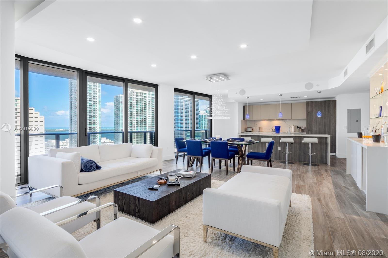 Located in the Heart of Brickell, this rare NE Corner Combination Residence at SLS Lux features nearly 2500 SF of Living Space w/ a large wraparound terrace. Residence 2605 is a 3 Bedroom + Den w/ 4