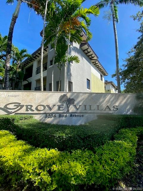 Beautiful and rare CORNER tri-level townhome at the exclusive Grove Villas. It features 3 beds/3.5 baths/2-car garage, 1,425 sq ft, gated private community of 20 townhomes. Unique large and private patio area, spacious balconies on 2nd and 3rd floor, two master's on third floor with brand new carpet and third bedroom with its own full bathroom downstairs, living/kitchen/dining area on second level, marble floors throughout, beautiful eat in kitchen with stainless steel appliances, washer/dryer, impact windows and more! Recently painted. Make this your home.
