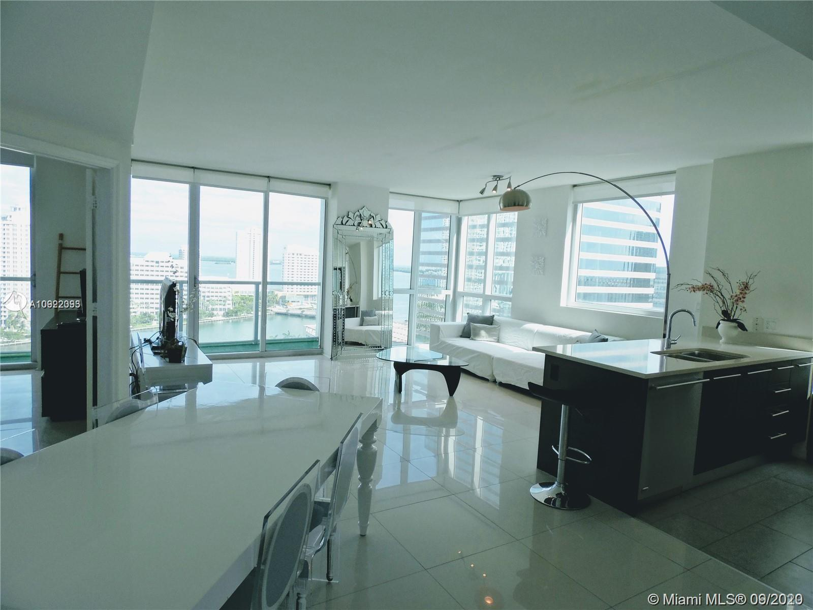 Prestigious 500 Brickell. Simply the Most Sought-After 2 Bedroom corner unit with Direct Water-view. Stunning views to the Bay, Brickell Key & Brickell Avenue. Fully furnished unit with marble floors, Italian kitchen with GE monogram appliances. Master bath with separate shower & Jacuzzi. The building offers concierge service, 24-hour security, 3 Swimming Pools, a gym, spa, movie theater, and more!