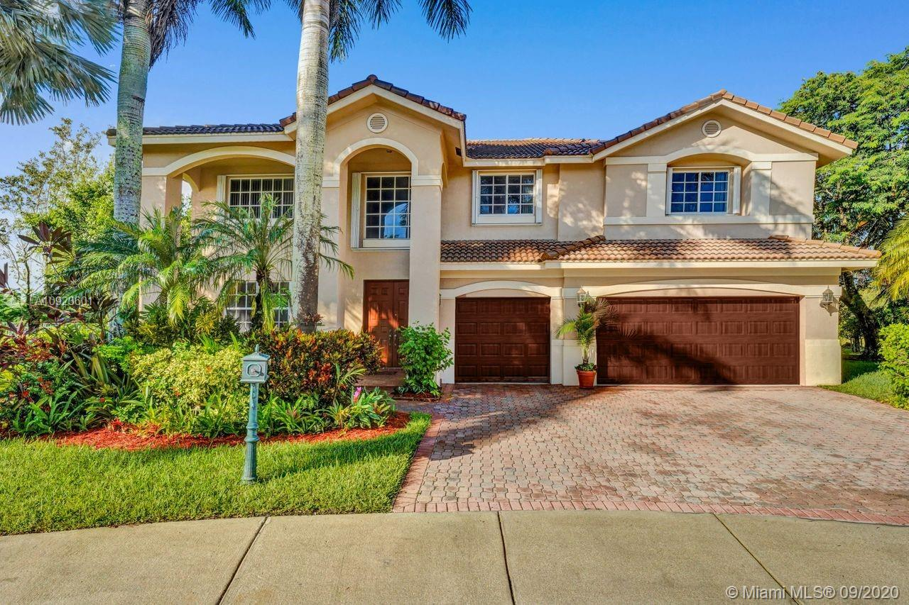 Looking for an expansive 17,000+ cul de sac lot with endless lake views, backing to the berm with no neighbors behind.  Popular two-story home with six spacious bedrooms and five full baths. Meticulously maintained boasting an oversized family room.  Full bed and bath down. White kitchen cabinets with Stainless Steel appliances.  Sliders to the private pool with spa and paver patio, fully fenced. Warm wood floors on stairs, hallway, and owners suite. Additional den/office attached to the owner's bedroom. Neutral decor throughout. One of the largest lots in Hunters Pointe.  Walk to community park complete with a soccer field, playground, and basketball court.