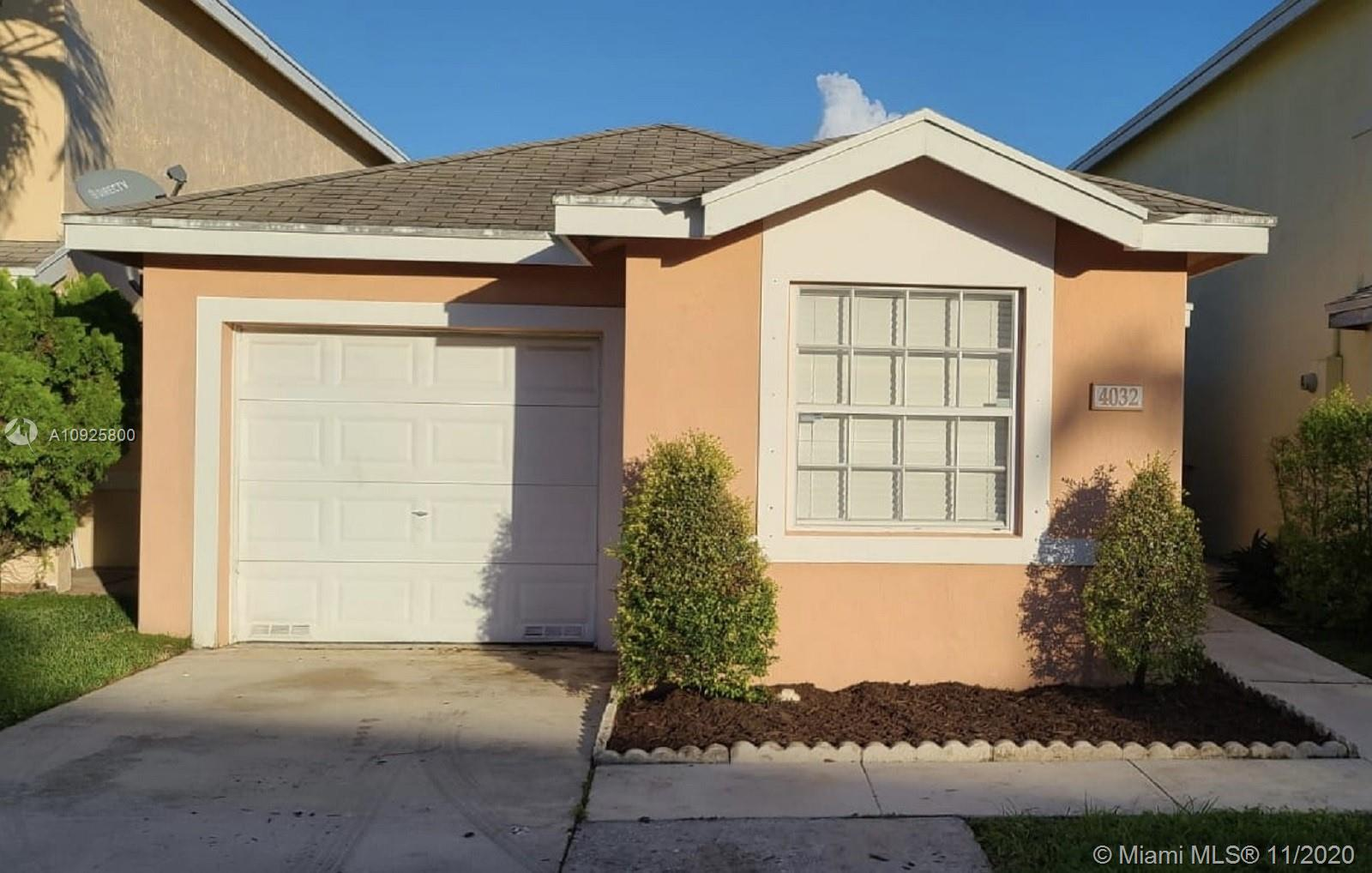 Great 2 bedroom, 2 bath single family with lake view, garage converted to a 3rd bedroom, split floor plan, open kitchen to the dining/living room, tile floors and brand new a/c unit. Community with swimming pool.  First time home buyers welcome or investors.