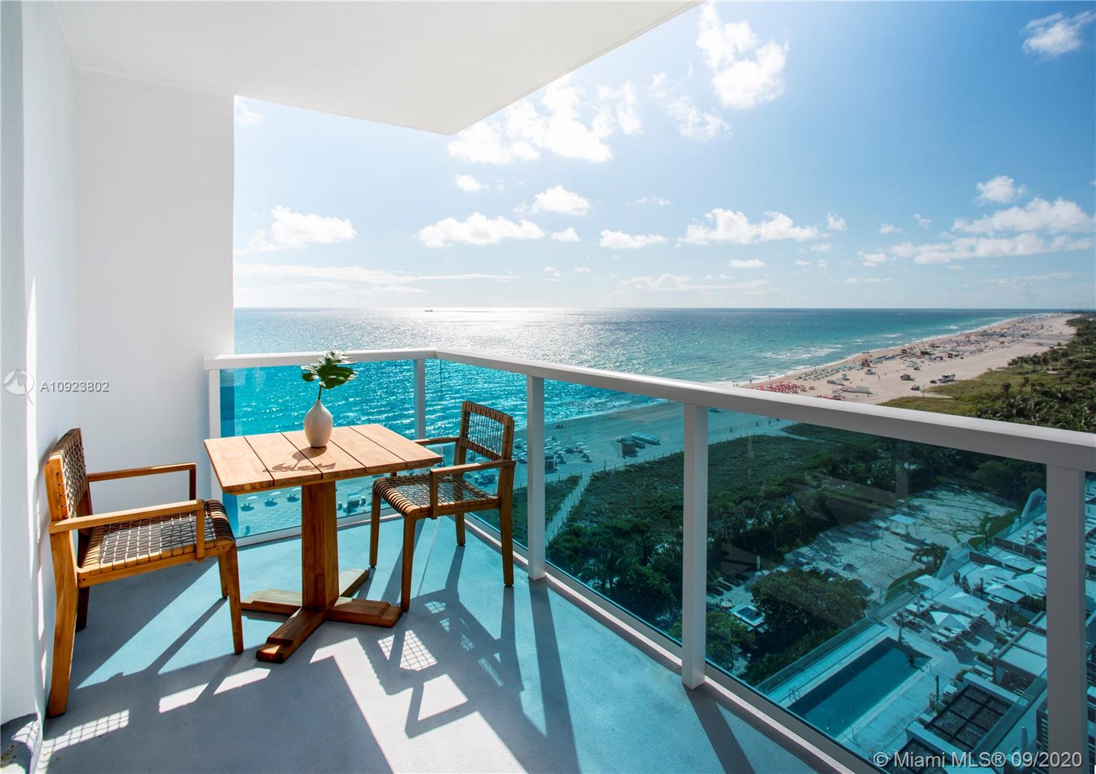 "Eco-luxury, spa-living, expansive views, comfort and convenience in a turnkey corner residence at 1 Hotel & Homes in Miami Beach. This 2-bedroom is the most desirable : the ""20-line"" with bedrooms directly facing the ocean! Tastefully appointed by acclaimed architect Debora Aguiar with washed woods, natural fibers and a soothing, harmonious atmosphere. Both bedrooms enjoy panoramic ocean views with floor-to-ceiling glass. Endless beach vista from the SE facing terrace.  Residents can access all services & amenities including three pools, rooftop lounge, restaurants, beach service, private beach club & wellness program. The 1 Hotel & Homes is a revitalizing oasis with the best of South Beach just outside your door. This unit is furnished and turn-key & the BEST priced ""20 line""  unit!"