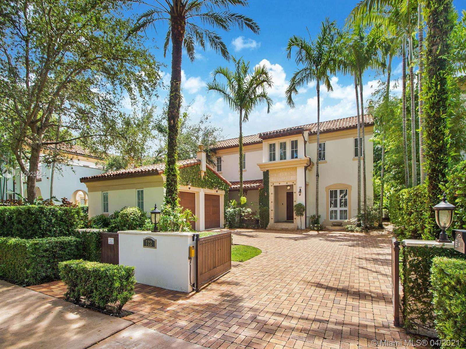 This Spanish manor in Coral Gables is utter perfection. Located in Casa Sevillanas Village surrounded by sidewalks & green treescapes you will love living an urban lifestyle in the City Beautiful. Highest quality with custom finishes & attention to detail including hardwood & marble floors, handmade cabinetry, finest millwork, fireplace & elevator. Stunning arched doorways surround the flexible floor plan leading to dining, living & family rooms. Three bedrooms, open den & laundry room are all on the same floor. Retreat to your master & unwind in the 5 star bathroom with oversized closets. En suite bathrooms for each bedroom. Covered loggia right off the kitchen makes it easy to dine alfresco & watch the kids swim laps. Coveted location just minutes to MIA, Miracle Mile, Merrick Park & UM.