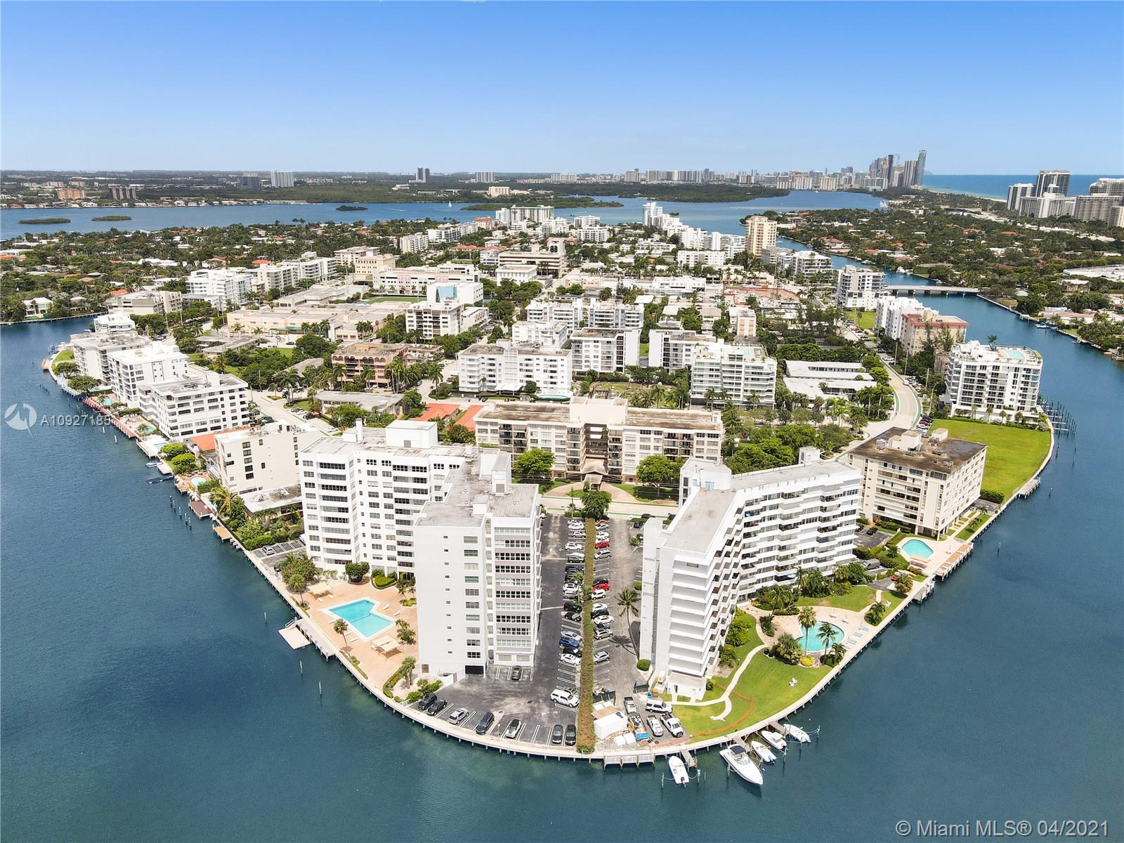 Fantastic Water Views!!Ocean and Bay! Waterfront MiMo Masterpiece Designed by Herbert A. Mathes This 2 bedroom, 2 Bath offers Bay front pool with kayak launch & storage area. The Mediterranean is being completely restored to it's original glory. This is a great apartment. Walk to stores and restaurants. Only 5 minutes to the beach.  One of Miami's very few walking neighborhoods with A-rated K-8 school and its own police dept.