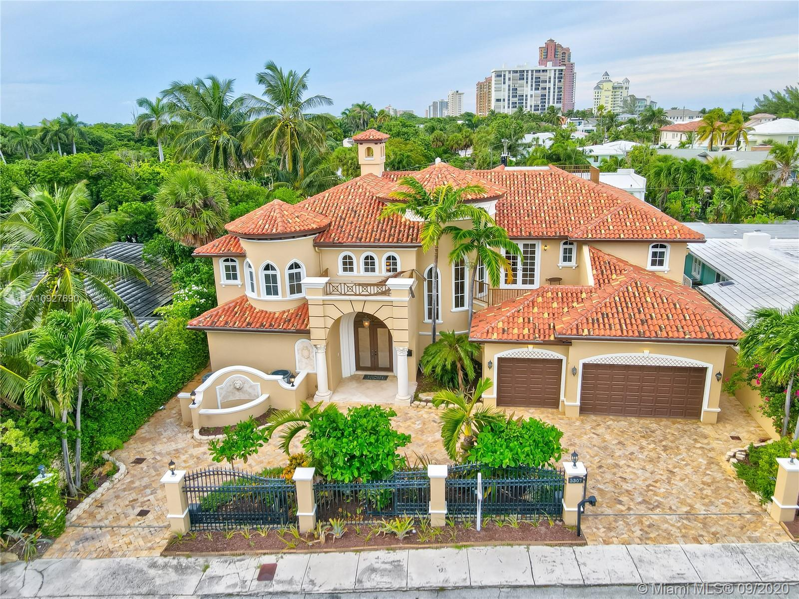 Just steps away from the beach, and completely secured. This one of a kind 6,500 sq ft Mediterranean style home is perfect for big families and entertaining guests. Complete with a 3 car garage, chef's kitchen, and soaring ceilings. The Master Suite includes a separate seating area along with a private balcony and a morning bar with two walk-in closets and another utility closet, while the master bath includes dual sinks with a vanity and separate tub and shower. Watch the waves from your private rooftop terrace or relax poolside, endless possibilities with the ample space and quiet cul-de-sac street making it the perfect opportunity to make this house your home.