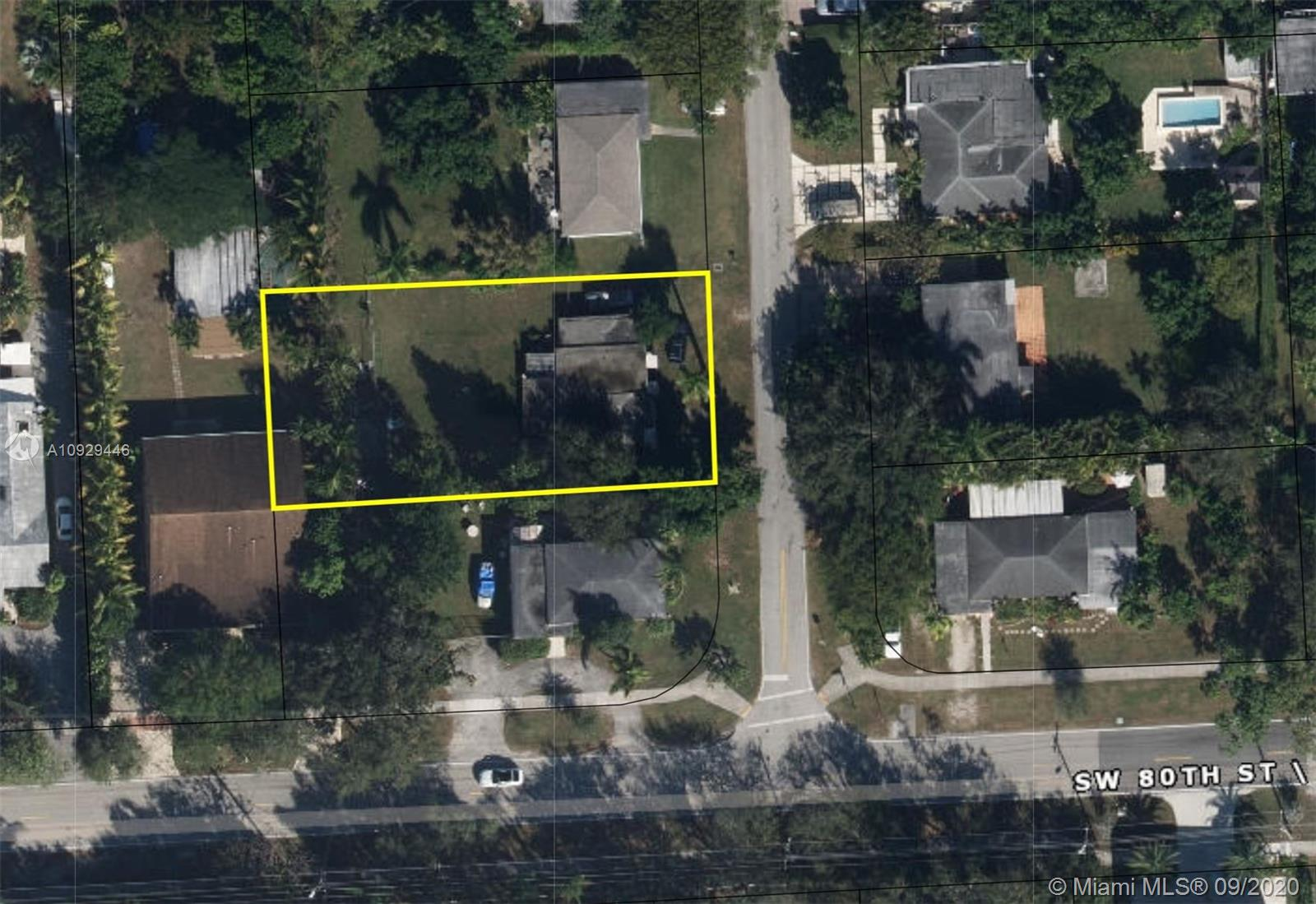 South Miami Land or Extreme Makeover.  Renovate or Rebuild.  So much potential!  This 1951, 2/1, 1,181 sf home on 10,061 sf lot (74'x135') west of US 1 is a solid CBS structure featuring open-beam ceiling, terrazzo floors, enclosed Florida room, CBS shed, carport, functional layout, good bones in great location.