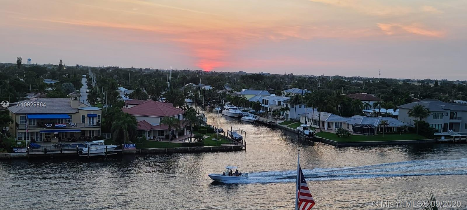 Completely renovated boutique style condo, covered parking, low HOA. Located on the Intercoastal, steps to the beach, Deerfield pier, popular restaurants. The whole building had concrete restoration with multiple upgrades, new Veranda improvements. Remolded Kitchen & Bathrooms. Master bathroom has a built-in wet sauna & guest bathroom has 6 jet Jacuzzi. Shades of Emerald granite kitchen counter top. Custom built kitchen cabinets. Extra thick/insulated German faux wood laminate flooring. Matching faux wood porcelain tiles on the Veranda. LAN cable installed under flooring, master bedroom custom wood armoire with desktop space and built in TV space. 2 walk-in closets. Heated pool. Views East to the ocean and West on the Intracoastal with scenic sunsets. Bicycle parking area.