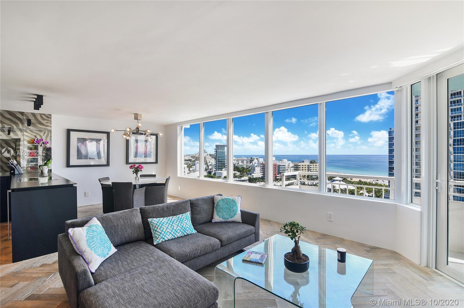 2 Beds, 2 Baths, South of Fifth, few short steps to the beach. Fully furnished turnkey designer unit. $350,000 (receipts available) spent on luxury renovations. A comparable reno w/today's Covid construction restrictions (i e # of workers in the unit at a time, etc) would take at least 12 months (not 4).This unit is ready for immediate occupancy.1 covered parking located very close to elevators. Hurricane impact glass, Boffi kitchen, Gaggenau appliances, Boffi bathrooms, Herringbone Siberian wood floors, Kreon lighting system, Electric shades, redesigned open floor plan with panoramic views. Full service luxury building w/2 brand new pools, gym, enclosed dog park, tennis courts, garden area & more. 1 storage locker. All assessments paid.