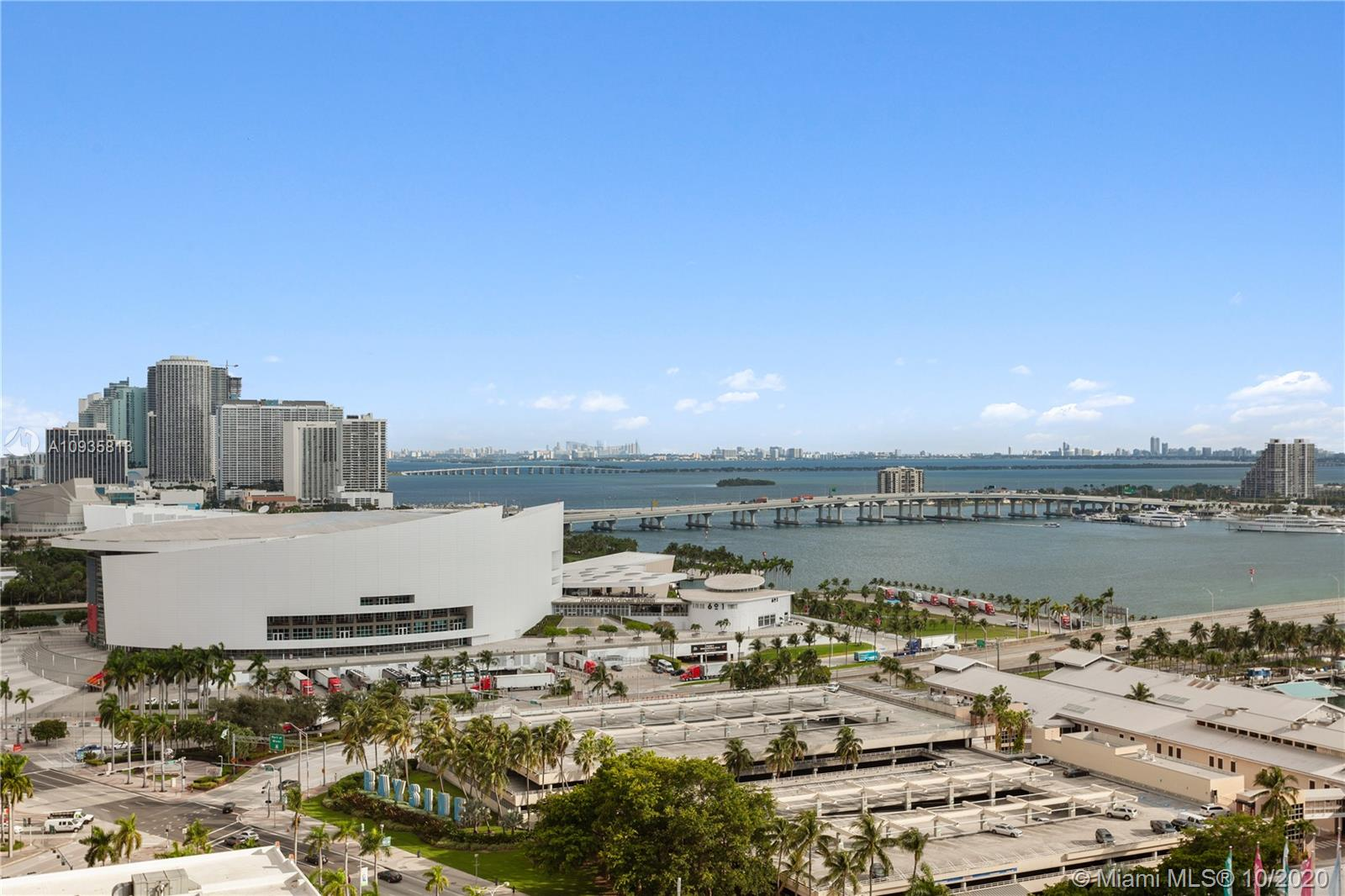 South East corner unit facing Biscayne Bay. Bright and great open floor plan with room for formal dining. 2 bedrooms and 2 full bathrooms. 1 Parking space. Building offers resort style amenities with fitness center, spa, office room, and much more. Unit is tenant occupied till Feb 2021 for $2,000 per month. Buy with as little as 3% down! Showings with pre-approval only and serious buyers. Thanks.