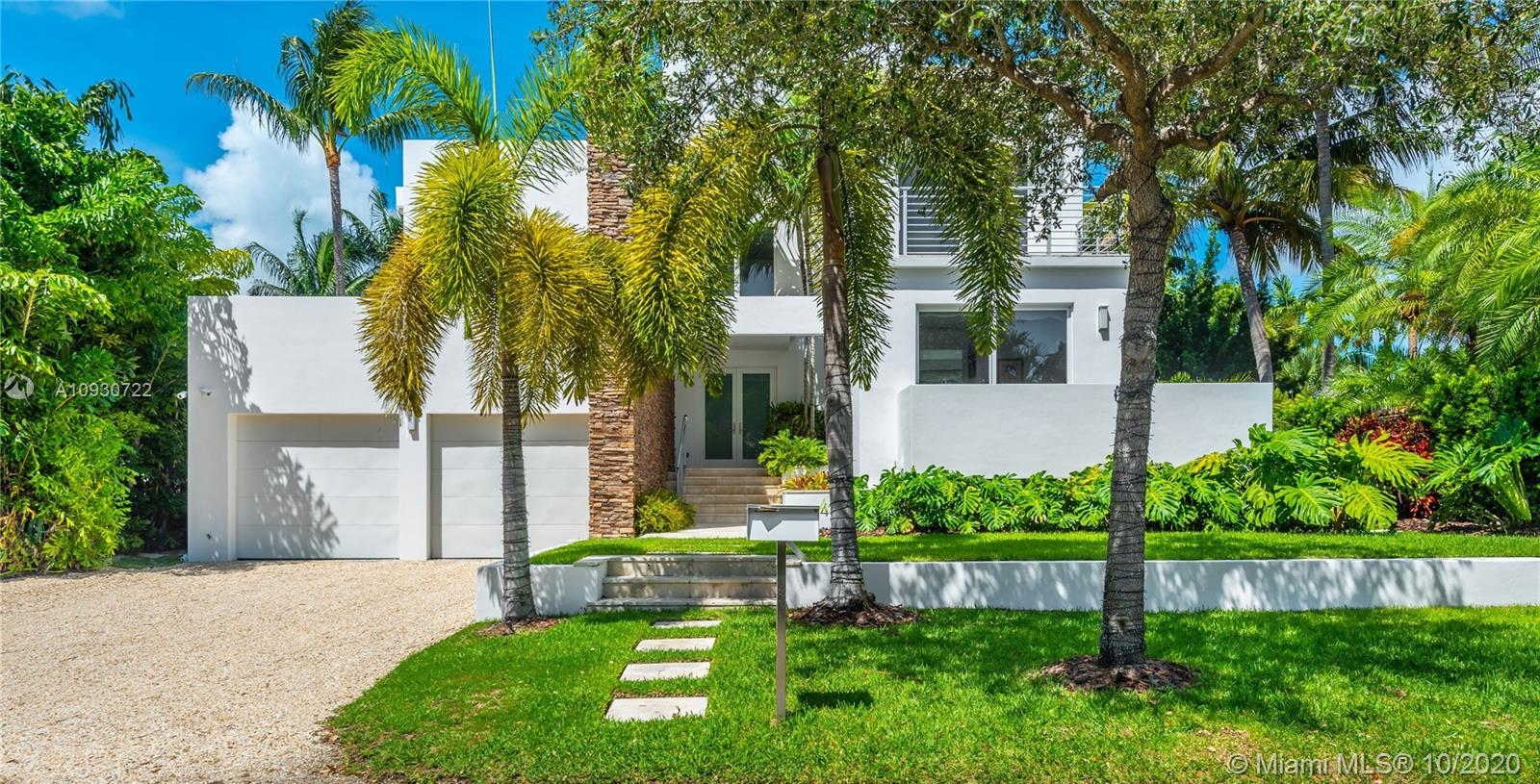 Stunning modern residence on island paradise, Key Biscayne.  This beautiful and elegant home offers tons of natural light, high ceilings, and spacious open areas.  An outstanding floor plan with 6 bedrooms, 5 full and 2 half baths, 2 car garage w/ AC, separate staff wing, gorgeous backyard with lush landscaping for privacy, lap pool, outdoor kitchen bbq area for al fresco dining, private office, plus an oversized rooftop terrace with amazing sunset views ready for outdoor parties with its own bar and bathroom.  Truly unique family-friendly smart home that offers flexibility to utilize the spaces in so many ways. Rare to find an elevated, reinforced concrete home full of architectural features, with a garage for your toys, on a quiet street, and with so many living and entertaining options.