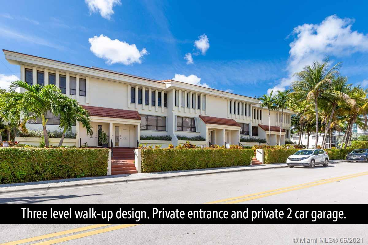 Correct living area is approx 2200sf. Modern luxurious completely updated spacious 3 bedroom 3.5 baths 2 car garage 3 story townhouse in the heart of Bay Harbor Islands. Plenty of parking. Review pictures to truly appreciate. Modern kitchen with white cabinetry/glass wave mosaic backsplash/quartz countertops/stainless appliances. Updated bathrooms. 2 balconies. 2 zone AC. Newer Washer and Dryer. No carpet. Lots of natural light. Hurricane Accordion Shutters. Walk/bike to everywhere including restaurants on Kane Concourse, Bal Harbour Shops, the beach, Surfside's restaurants and shops... A-rated school.