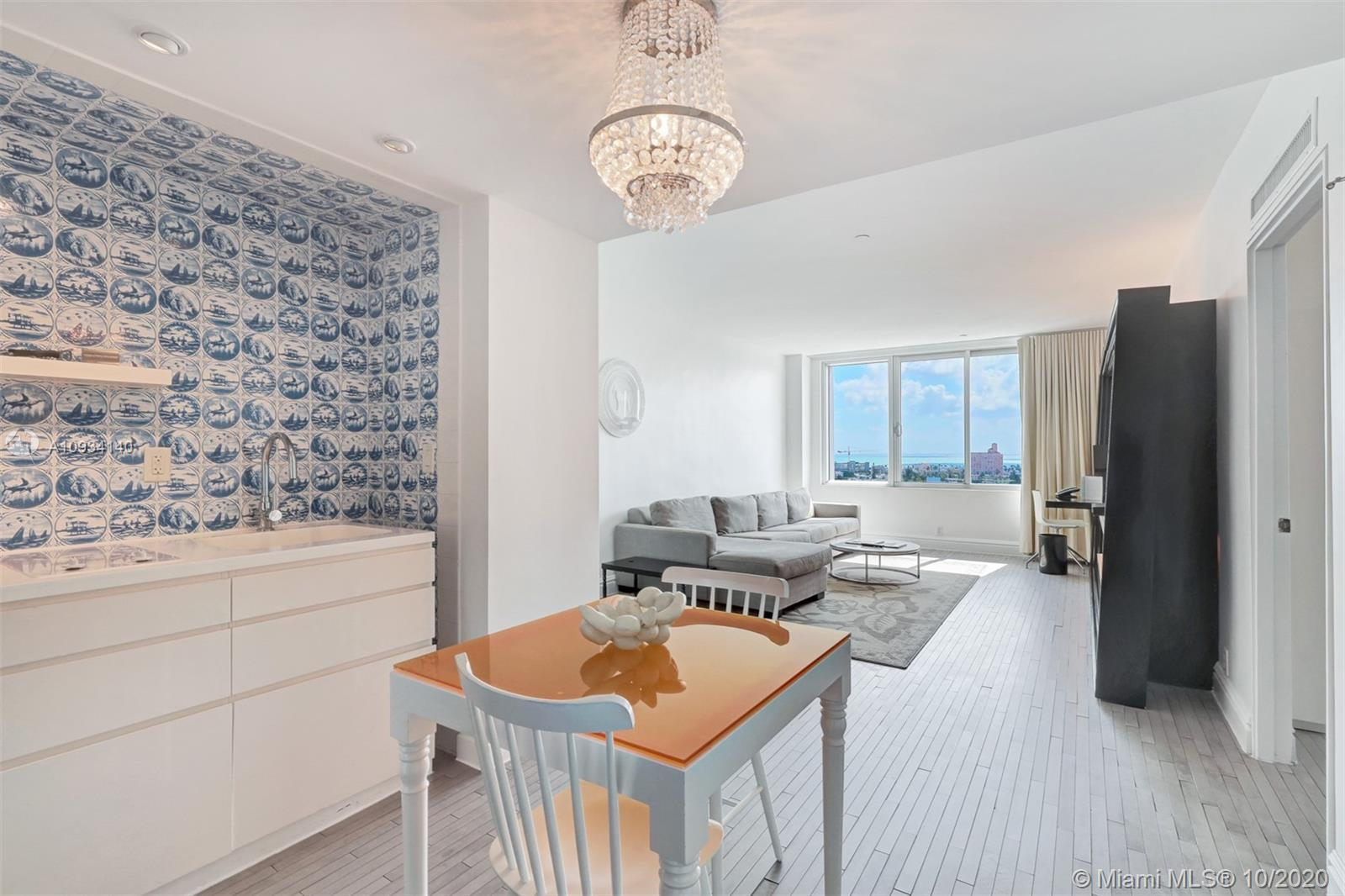 Tremendous views of the city and ocean from this Penthouse Unit with 1 Bed 1 Bath at the newly renovated MONDRIAN located in the heart of SoBe.  The unit is NOT in the hotel program and can be self managed. This building just completed a $20mil property wide renovation including 2 restaurants, spectacular lobby bar, refreshed Spa and Fitness Centers, new Beach Club, new pool areas and a private marina with jet ski rentals and more.  Perfectly furnished, and with the bath updated, its ready to move in or ready to rent out. SELLER HAS PAID ALL ASSESSMENTS.  Enjoy on-site concierge, 24-hr room service, housekeeping service, and 24/7 security. Unit has 1 valet parking space. Fantastic restaurants, shopping, sports venues and entertainment are just minutes away!