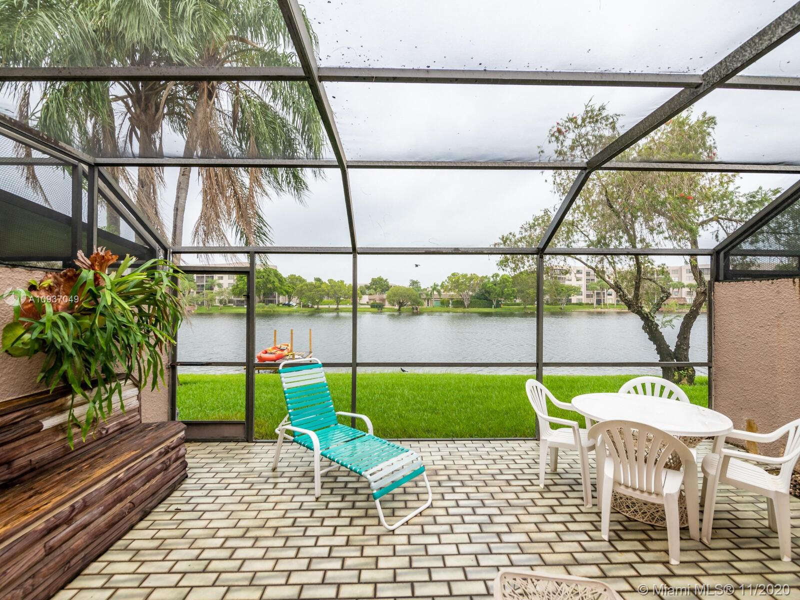 Live in Villas Lakes in the heart of Pembroke Lakes. Spectacular Lake view, 3 bedroom 3 bath townhouse with 1 full bedroom and bath on ground floor.  Bright open Living & dining areas with  beamed vaulted ceiling and tile throughout the first floor. Large screened patio with panoramic lake view to relax and enjoy nature. Low monthly HOA fee, 24 hr security patrol,close to Pembroke Lakes Mall,hospital & shopping plazas. Amenities include Cable TV,Olympic size pool,tennis courts,basketball and racquetball courts, 2 assigned parking spaces and plenty of guest parking.
