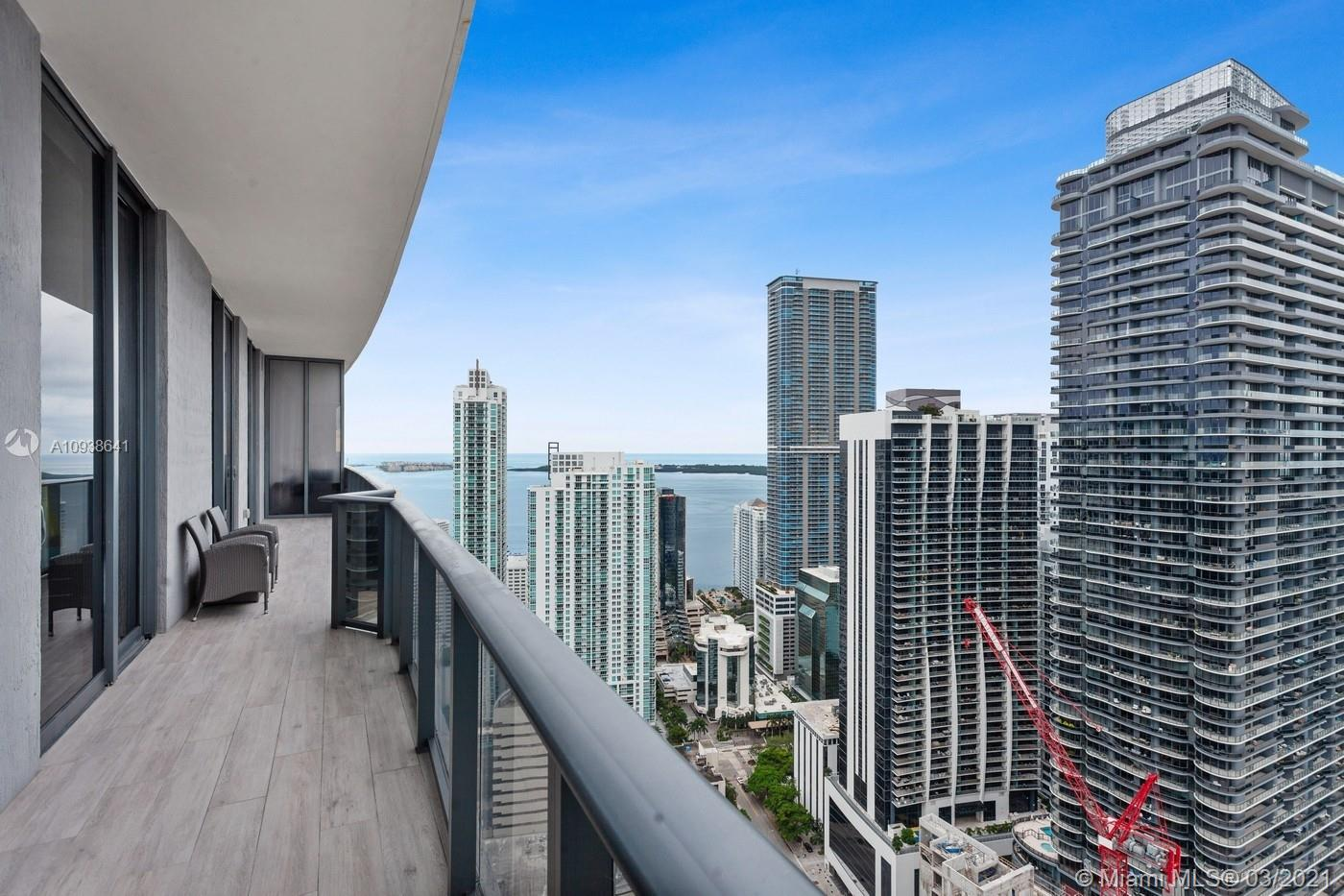 Stunning Lower Penthouse at Brickell Heights East Tower, featuring 3 Bedrooms Plus Convertible Den, 4 full bathrooms, breathtaking views across Biscayne Bay and Miami Skyline, Floor to ceiling windows, 32 x32 porcelain tile, expansive balcony, spacious Laundry Room, and 3 parking spaces. Walking distance to Brickell City Center and a variety of restaurants, shops, Enjoy the Best City Lifestyle.