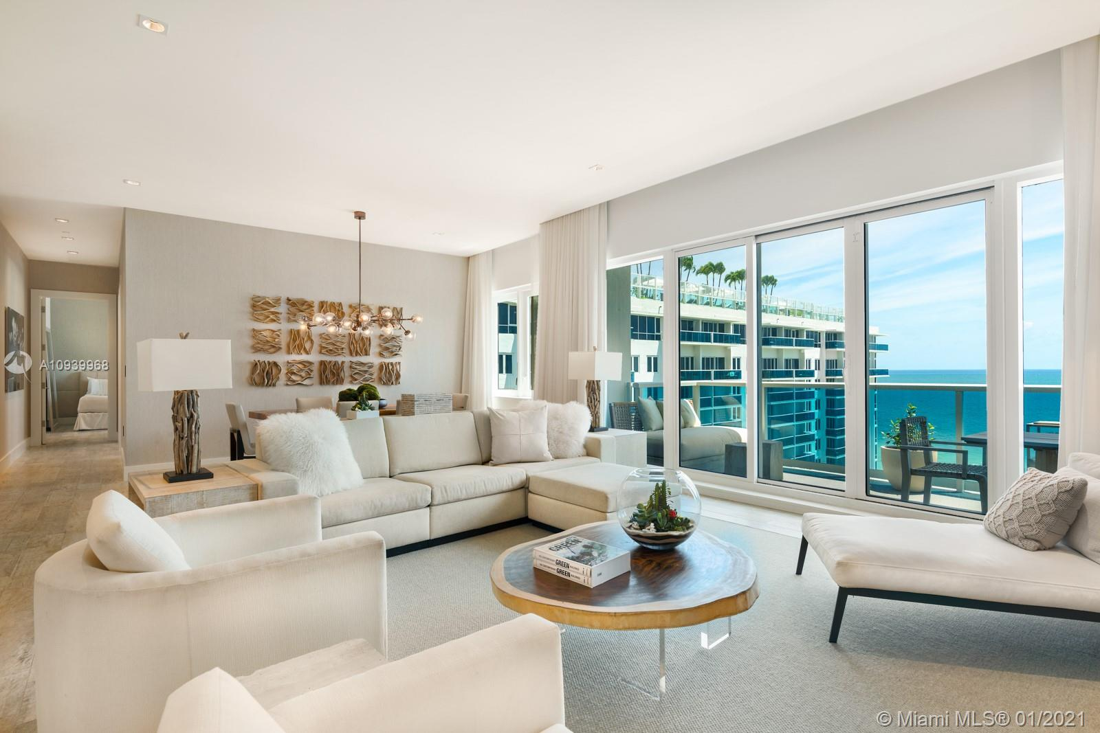 Enjoy the sounds of the ocean in your direct ocean view trophy Penthouse located at 1 Hotel & Homes, South Beach! Featuring lavish home elements delivered fully furnished by Brazilian designer Debora Aguiar. Bring the outside in, floor to ceiling sliding doors make this spacious 5 bed + maids quarters, 4.5 baths w/ 2,792 sqft. seem endless. Experience hotel living with access to all amenities, valet, concierge, in-room dining, 14,000 sqft gym, Bamford Haybarn SPA, Restaurants, Rooftop pool & more!