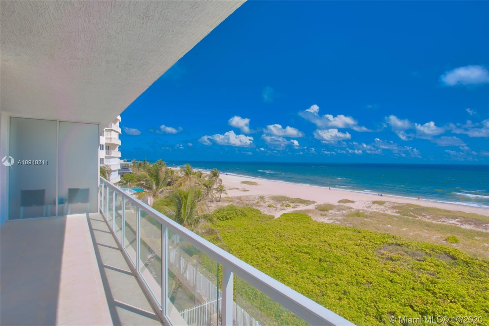 Beautiful 2 bedroom + den / 2.5 bathrooms condo boutique on the Ocean. The unit features floor-to-ceiling windows with direct views of the ocean and intra-coastal. The building offers direct beach access, direct ocean heated infinity pool, fitness center, and club room. Only 32 units.