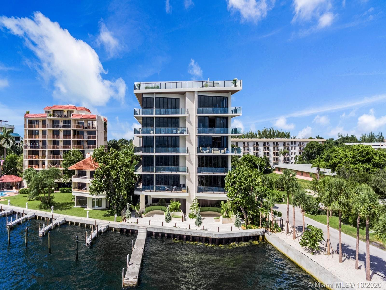 Best priced unit at the fabulous Fairchild in Coconut Grove! New boutique waterfront development with only 26 residences designed by renowned Architect Max Strang in collaboration with acclaimed interior designer, Rafael de Cardenas. 2nd floor Peacock floor plan features 3 bedrooms plus staff quarters, four and a half bathrooms and family room. Stunning Italian kitchen with top of the line wolf and Subzero appliances and a wet bar with wine cooler. Building includes rooftop pool with spectacular water views, summer kitchen outdoor move theater and bay lounge. 24 hour concierge services, valet parking,  and community dock. Central location close to Grove shops and restaurants and minutes from Brickell.