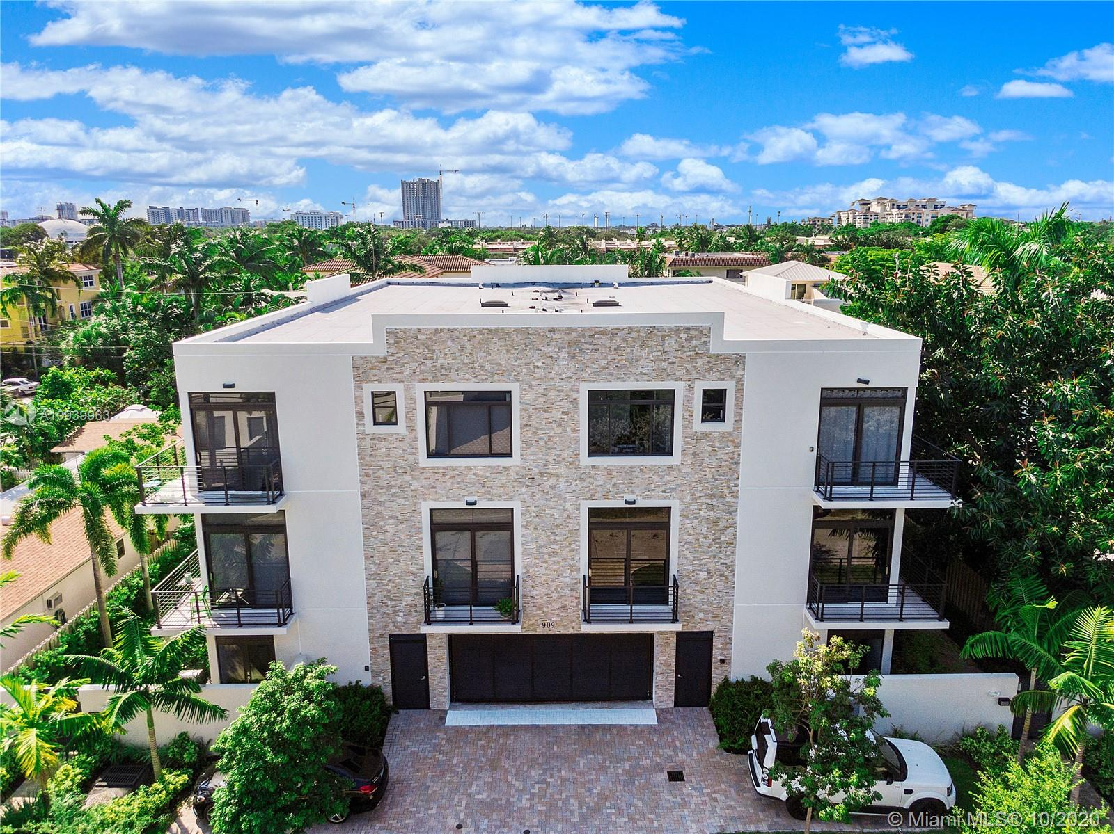 New construction in the heart of Fort Lauderdale's Victoria Park offers luxury in this sleek, contemporary tri-level townhome. Light, open and spacious three bedroom floorplan with two full and one half baths is accented with high quality finishes, Euro-style cabinetry, floating vanities, marble flooring, and Sub-Zero and Wolf appliances in the kitchen. The gated, six-unit complex affords privacy and a great location, minutes from Fort Lauderdale beaches, Las Olas shopping and dining, and the arts district. A two-car garage, plenty of storage and closet space, private entry and balconies and the ambiance of old Fort Lauderdale make this Seven Seas home in east Fort Lauderdale a desirable address and a sound investment opportunity.