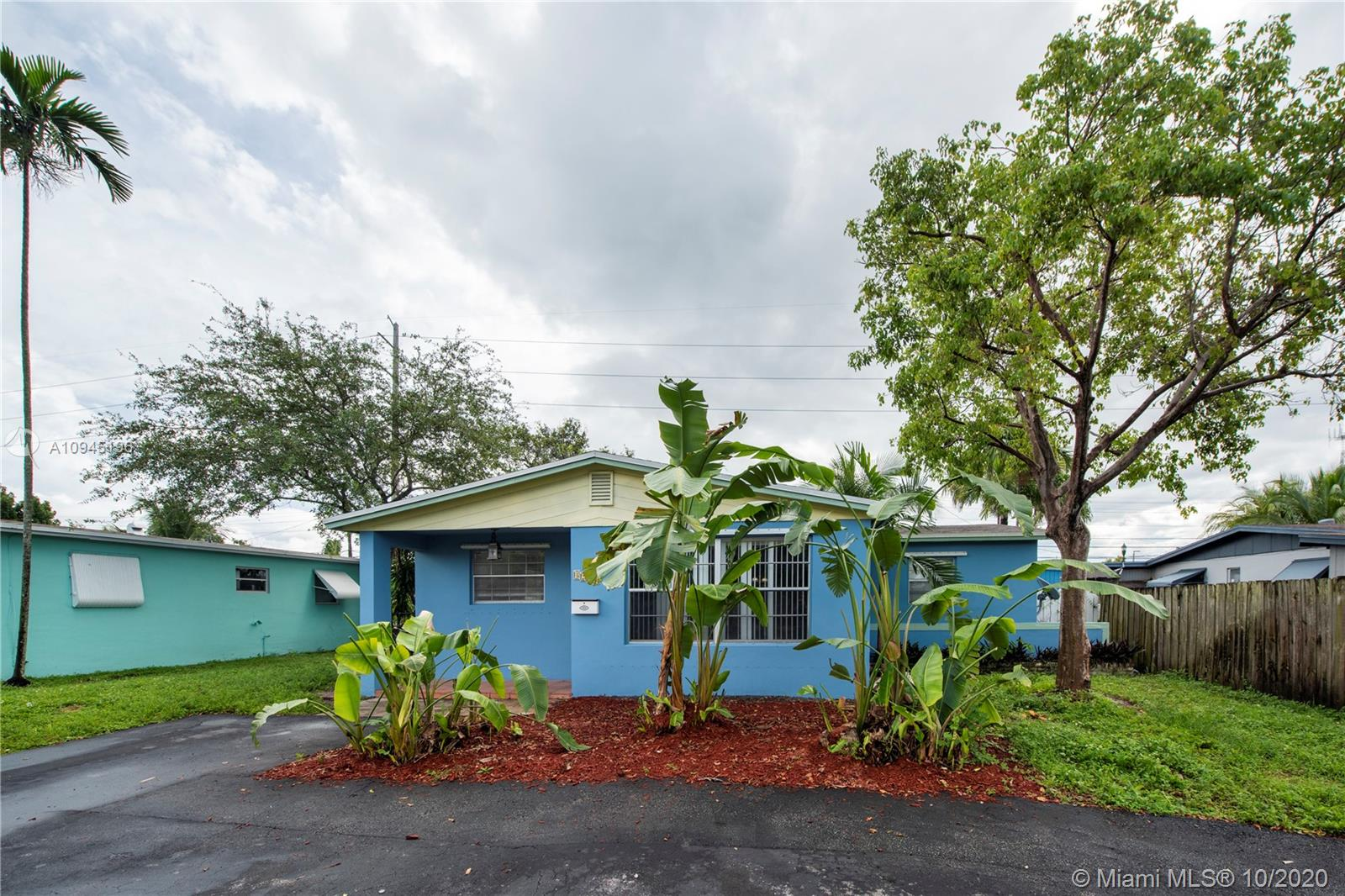 Charming home on a quiet residential street in Oakland Park.  Features a circular driveway, 3 bedrooms and 2 bathrooms, central A/C, and inside washer/dryer.  Roof completed with a permit from 2011, updated kitchen, hurricane panels, and double impact french patio doors.  The oversized fenced backyard has plenty of room for a pool and offers the perfect space to entertain underneath a 12x12 pergola. The attached storage shed in the back of the home offers additional storage and organization for backyard essentials.  This home is priced well and ready to sell.  Existing tenants are month to month. Enjoy having NO HOA! Great for investors or first-time home buyers.  Don't wait, hurry, show, and bring offers. 24 hours advanced notice needed to show.