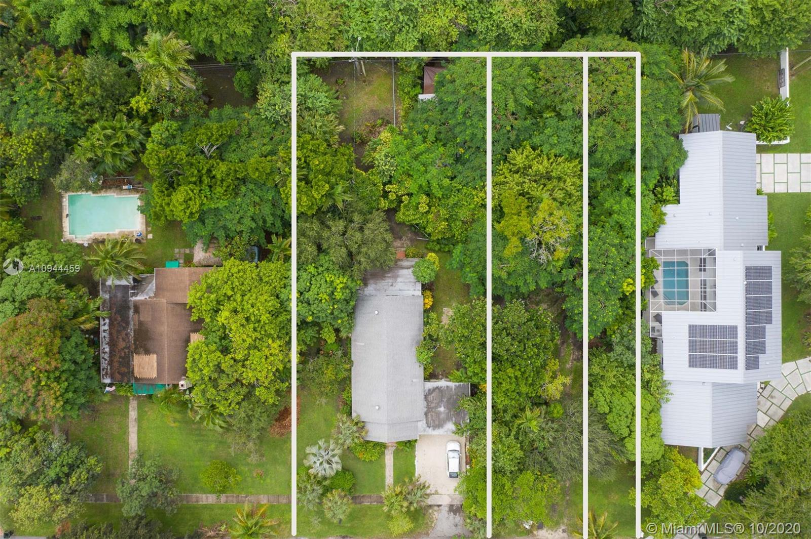 WOW!! three folios combined 09-4036-033-0250/0260/0270 over a half acre in prime South Miami. This is a builders dream, price is based on land value. Home is almost 100 years old built with dade pine. Check with dade county to see how many homes can occupy this property. Plus aprrox 25 feet annexed from dade county accross total rear of property.