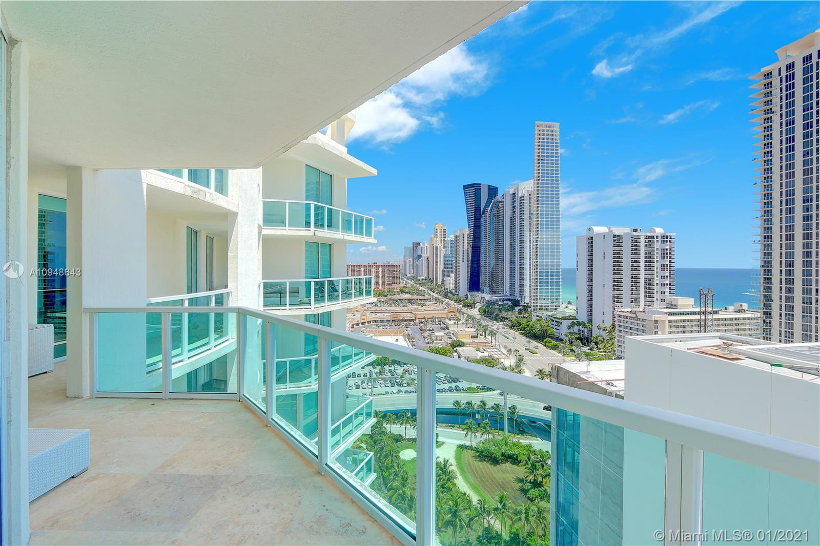 Spectacular contemporary 4BR 4.5BA upper corner Penthouse unit with an additional 1,100 Sq Ft 1BR 1BA private cabana by pool area in the exclusive St. Tropez Residences in Sunny Isles Beach. The amazing ocean and skyline views will hypnotize the most fastidious of them all. High impact windows and doors separate the apt. with the huge semi wrap around balcony. Beautiful marble floors and fine European kitchen & finishes. Sub Zero and Euro appliances. First class amenities include pool, gym and business center, door man Security and concierge. 2 private parking spots. Walking distance to the beach, shopping and restaurants in the area. Mins from Bal Harbour Shops and Aventura Mall.