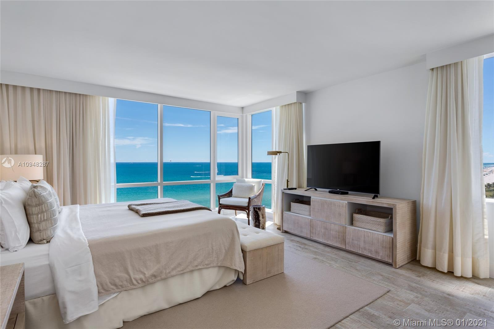 Stunning direct ocean views from the best line in the building! 2 bedrooms, 2 bathrooms, this corner unit is immaculately furnished by acclaimed designer, Debora Aguiar! Full kitchen, oversized living room, and bedrooms.Hotel living with private rooftop pool,bar & sand filled lounges.Restaurants serving the finest in organic cuisine.Private resident's lobby,concierge & chauffeured Tesla.600 linear ft. of beachfront,4 pools,14,000 sqft fitness center,Bamford Spa,beach & pool service,valet & more.
