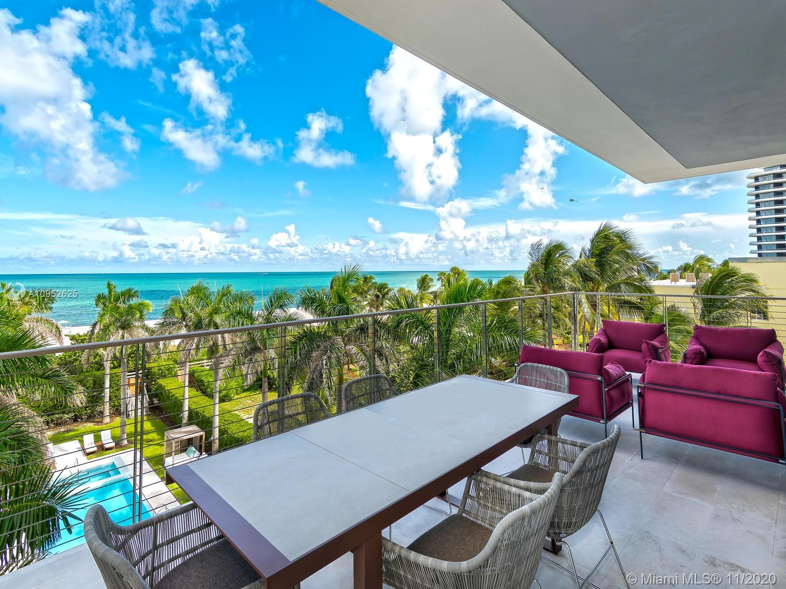 Looking for privacy? One of the most exclusive buildings in Miami with 7 units only. This is a duplex unit with 7 suites with more than 7,500 square ft in living area. The unit is sold professionally decorated and furnished. The unit came with with 4 car assigned garage and 2 cabanas. Building amenities includes 24 hours concierge, 75' pool w/jacuzzi, lounge & Technogym, yoga terrace & direct access to the beach. Qualified buyers only. For showing, kindly call Cassio Faccin.