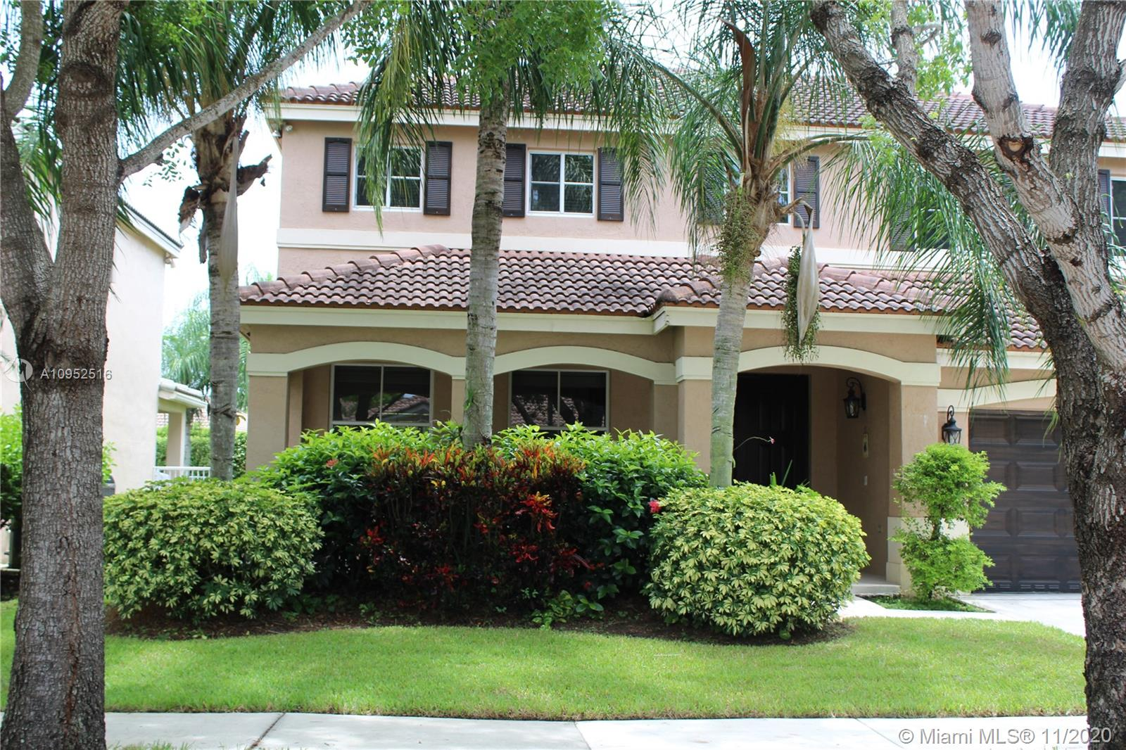 """AMAZING HOME IN THE MUCH SOUGHT AFTER """"SAVANNA COMMUNITY"""" IN WESTON HAS 4 BEDROOMS AND 1 BONUS ROOM ATTACHED TO THE MASTER BEDROOM AS AN OFFICE OR DEN, 2 FULL BTH AND 1 HALF BTH, 2 CAR GARAGE, ALL STAINLESS STEAL APPLIANCES, HURRICANE SHUTTERS, IT ALSO HAS A SEPARATE WASH/DRYER LAUNDRY ROOM. THE COMMUNITY HAS GATED ENTRANCE, 24/7 SECURITY GUARD, COMMUNITY CLUBHOUSE WITH 3 OLYMPIC POOLS AND RECREATIONAL AREA FOR CHILDREN. PUT PUT GOLF COURSE AND REC ROOM."""