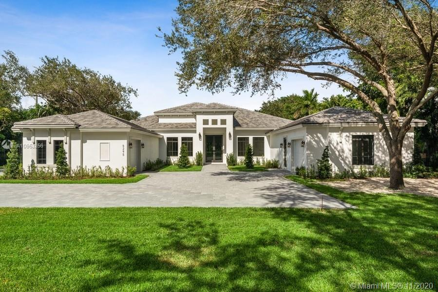 """Brand new construction * Located in the most desirable part of North Pinecrest  on 1.05 acre of land  * Never lived in * Elegant 1 story residence with spacious entertainment & living areas * North/South exposure offering natural lighting throughout the day * 3-way split bedroom **Hard to find """"in-law"""" suite with it's own garage ** View to pool and marble patio * Deep back yard  * Generator ready  & Smart House ready * Total of 4 car garage* Ready to move into *"""