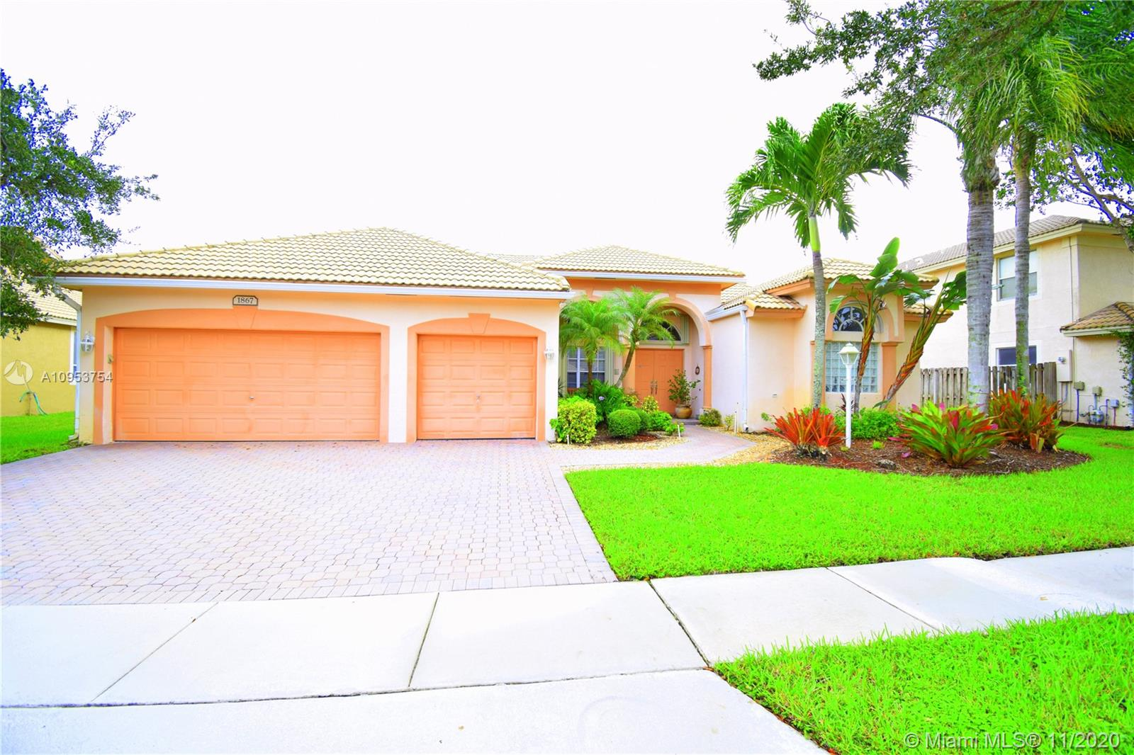 Beautiful and spacious one story home with 3 car garage, YALE model in the exclusive gated community of Pembroke Falls. This great move in ready property features 3 way split floorplan, high ceilings, crown molding, natural light, tile floors throughout the home, and accordion shutters. Large patio with plenty of room for a pool. Stainless Steel appliances. A must see! HOA includes alarm, internet, basic cable tv, 5 star clubhouse with ballroom, aerobics room, gym, pool, kids playground, tennis courts and basketball courts. Easy access to 1-75, parks, restaurants, malls and hospitals.