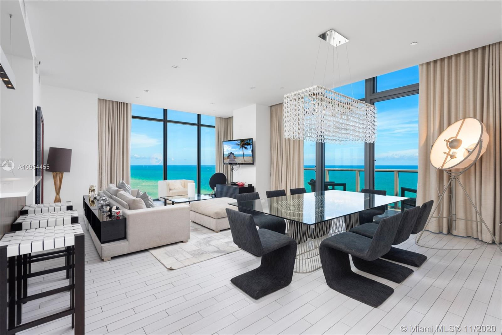 Rarely available, Gorgeous 3bed/3.5ba Upper Penthouse with stunning direct ocean views at W South Beach.  Beautifully designed and fully furnished, expansive glass balconies from each room with unparalleled views of the beach and ocean. Kitchen with top-of-the-line appliances. Second level features breath-taking private 1745 sq. ft. rooftop terrace, with a private plunge pool, BBQ grill and lounge areas. Truly one of a kind.