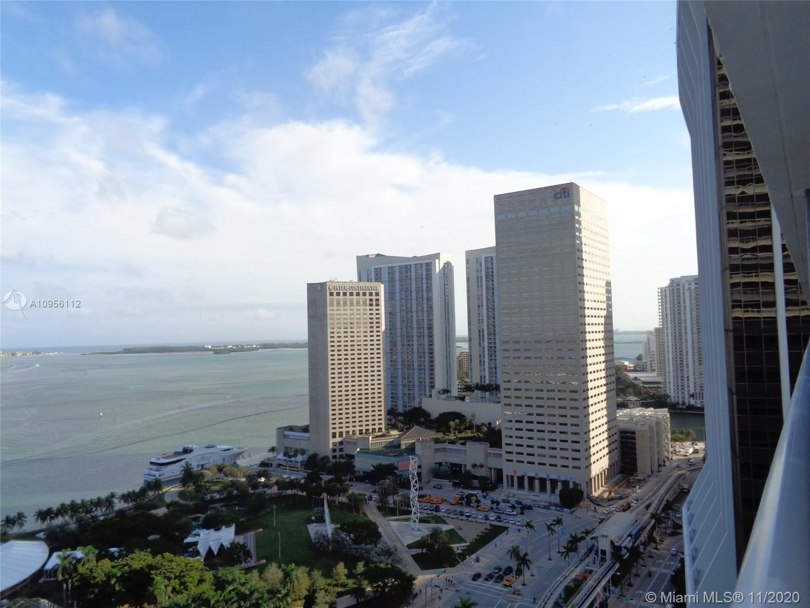 Spectacular Bay and Miami Beach views from this spacious 2 bedrooms 2 baths, plus den unit. 50 Biscayne offers high speed internet access, infinity pool, gym and two party rooms. 24/7 security, valet and concierge service. Centrally located, walking distance to many stores and restaurants.
