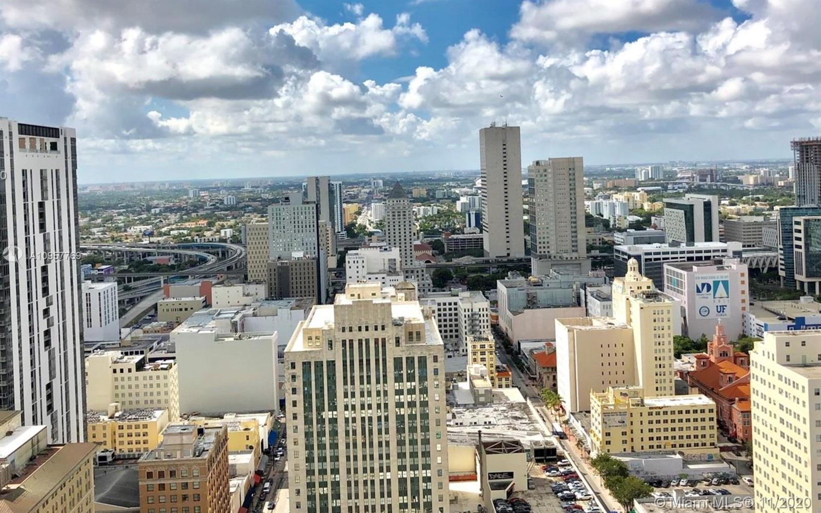SKY VIEW!! GREAT STUDIO, WITH WHITE WOOD FLOOR . AMAZING DOWNTOWN LOCATION IN THE HEART OF BUSINESS DISTRICT - WALKING DISTANCE TO OFFICES, AA ARENA, SHOPPING, DINING AND BAYFRONT PARK. FULL AMENITIES INCLUDE LUXURY POOL DECK, STATE OF THE ART GYM, SEPARATE SPA AND VALET PARKING FOR GUESTS. SPECTACULAR VIEW OVERLOOKING THE CITY.