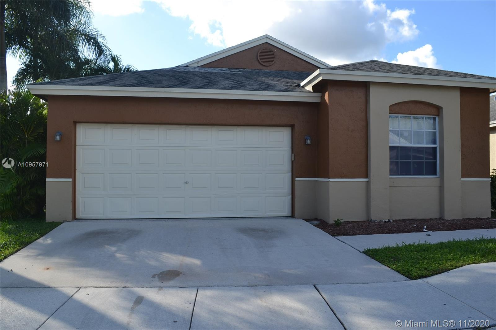 Sunrise living at it's best! 3 bedrooms and 2 bathrooms single family with one car garage. Corner lot with updated kitchen and bathrooms, freshly painted with neutral colors and tiled throughout the living area. Centrally located within close proximity to the Sawgrass Mill Mall and major expressway.