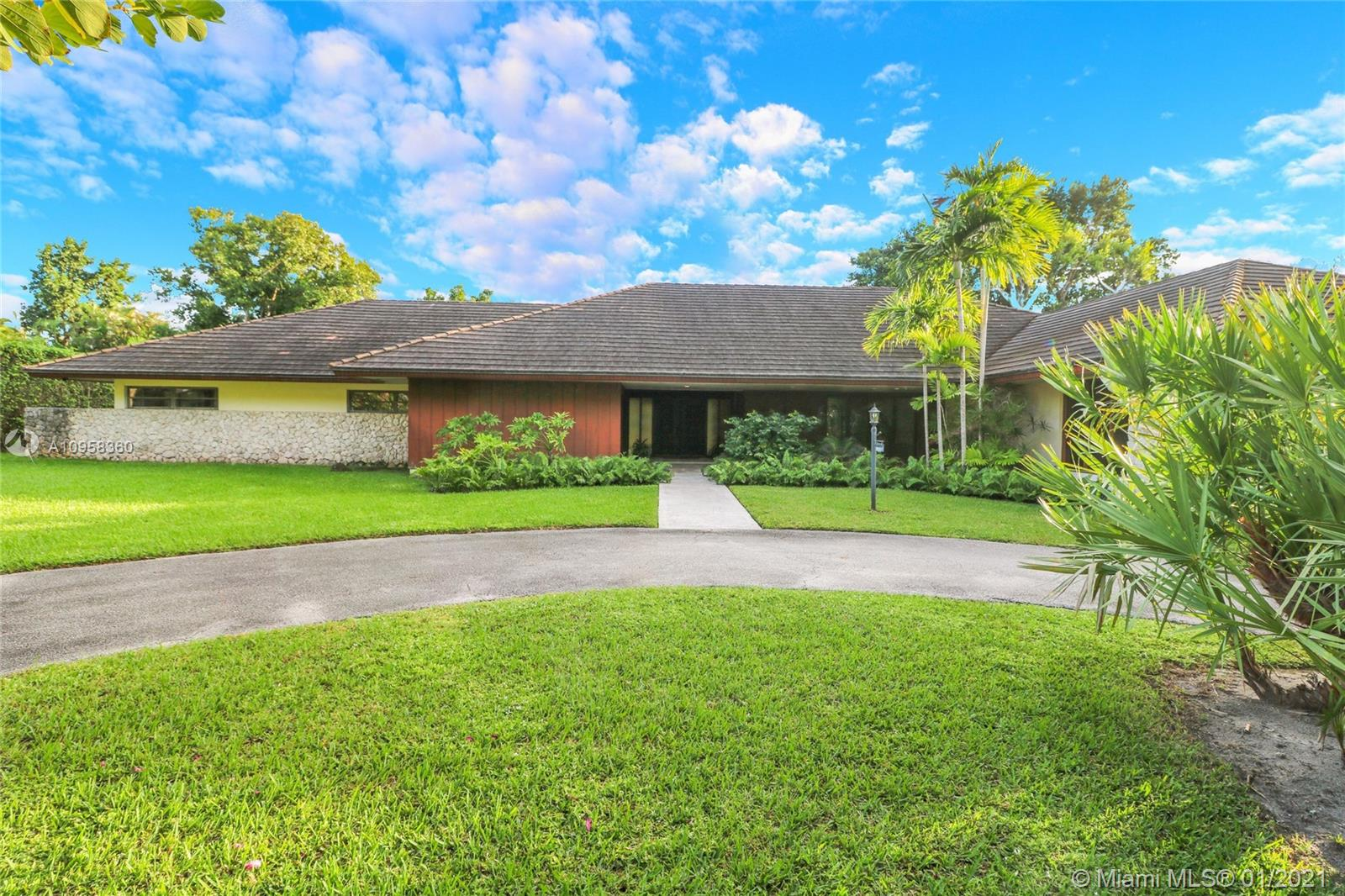 Unique opportunity to own your Coral Gables, Pinecrest-Palmetto school district dream home! This REMODEL-READY 5,283 sqft home w/5 generously-sized bedrooms, 3 ½ baths & oversized 2-car garage sits on ½ acre in prestigious PINE BAY ESTATES CORAL GABLES. This security-patrolled, luxury community is centrally-located at the intersection of tree-lined Red Rd & historic Old Cutler Rd, and is populated with 77 custom-built, multi-million dollar estate homes. The home's unique features include a vaulted great room w/working fireplace, home office/den w/full bath, expansive covered patio & screened pool, deep walk-in closets. The 800 sqft master suite boasts 2 substantial walk-in closets, dressing room w/2 separate vanities, marble bathroom w/sunken tub overlooking a private walled garden.