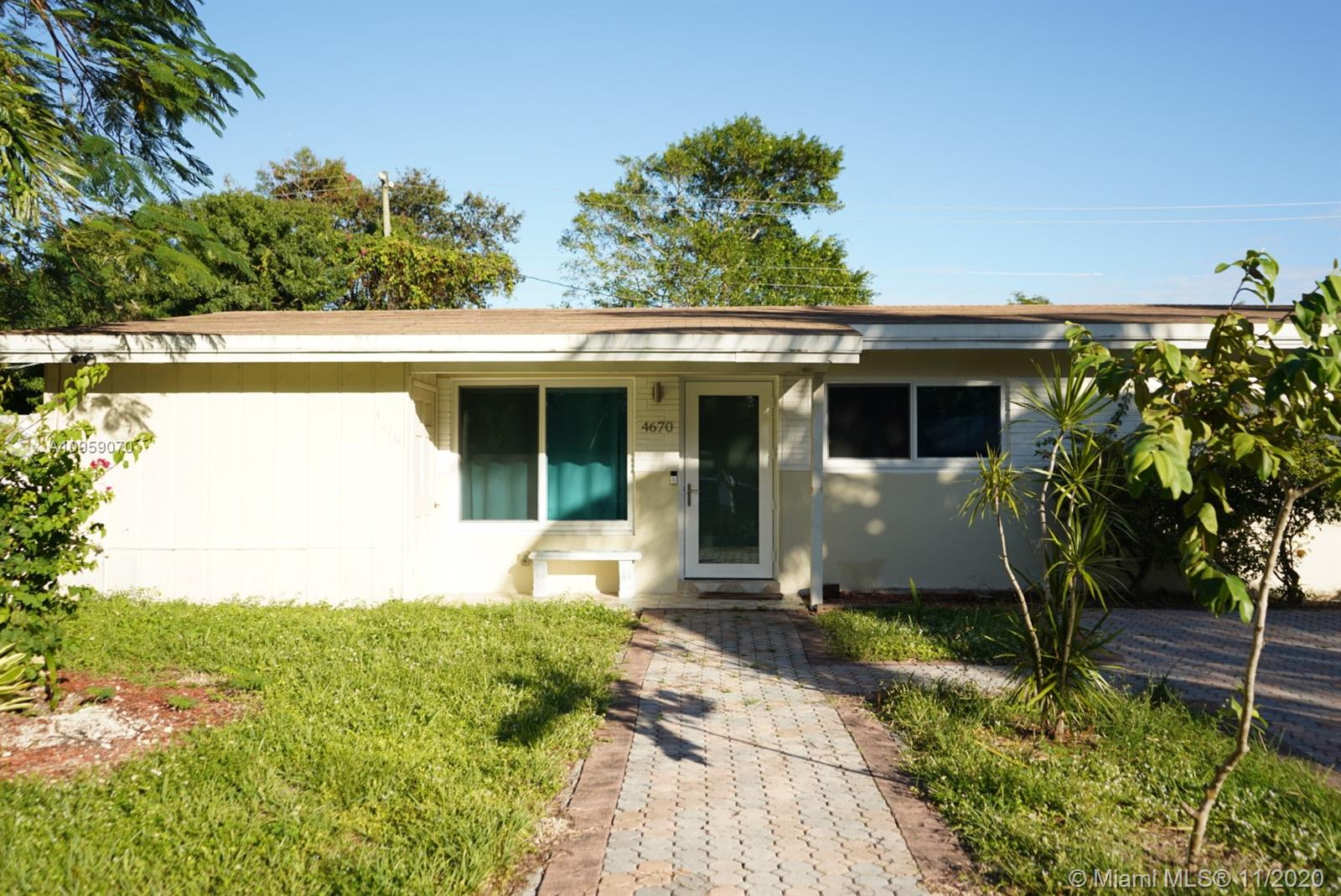 Beautiful Home located 10-15 minutes away from Dania Beach. NEW Kitchen, Large Tile Floors, Roof, High Impact Hurricane proof windows and Entrance Door (less than 2 years old). Plumbing has been updated to PVC. 4 Bedrooms, 2 Bathrooms and Laundry Room. Large Yard space with sheltered porch area and an additional shed perfect for storage or workshop area!  #4 Bedroom has separate entrance door and bathroom.