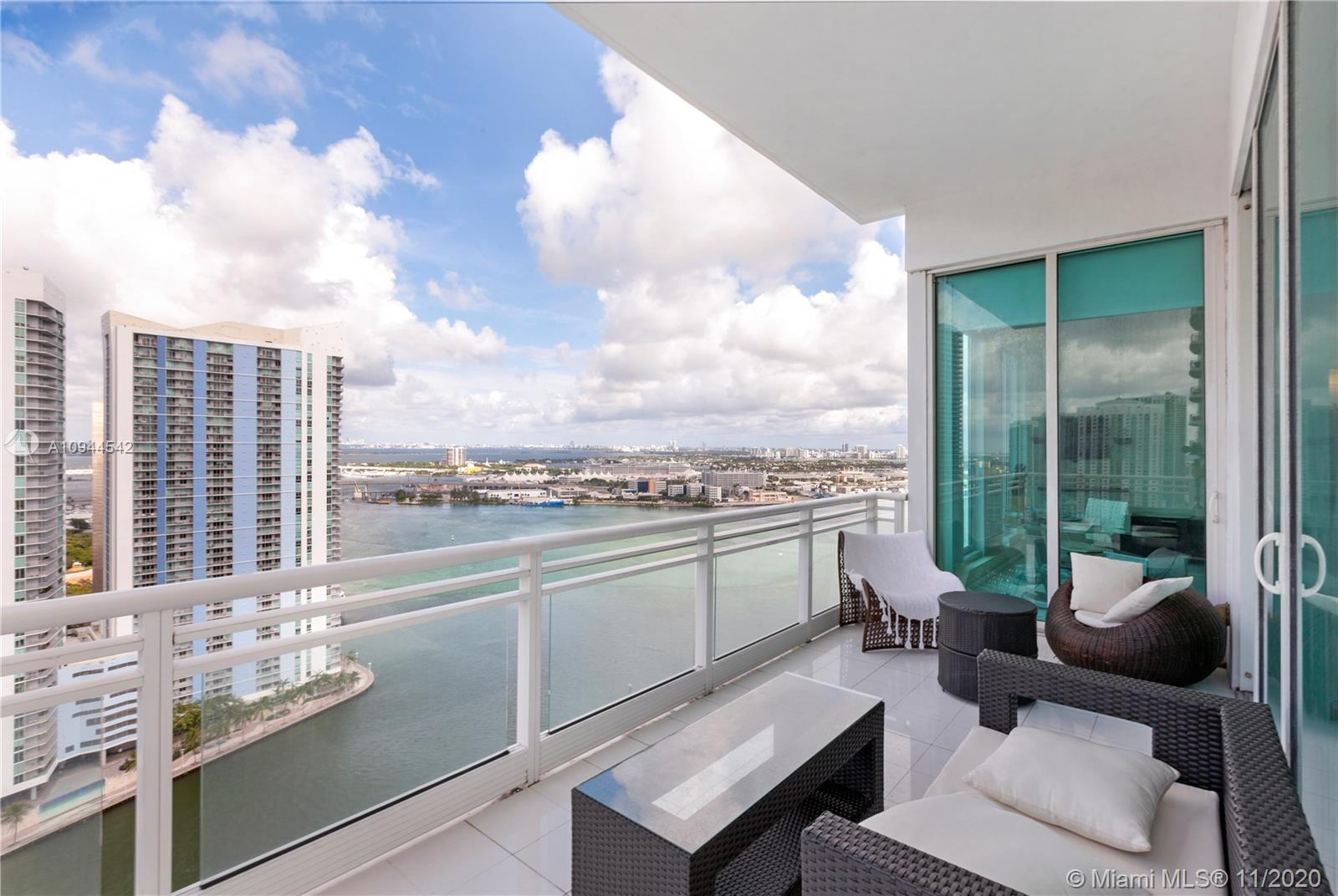Spectacular views furnished turnkey unit at ASIA condo in Brickell key. Three bedroom & 3.5 bath corner unit with breathtaking water views in the most luxurious and exclusive building. Private elevator, 12'-foot ceilings, marble floors throughout, top of the line gourmet kitchen appliances (Subzero and Miele). Fabulous amenities such as tennis court, swimming pool, lap pool, gym, sauna, racquetball court, 24hr concierge, valet, and security.