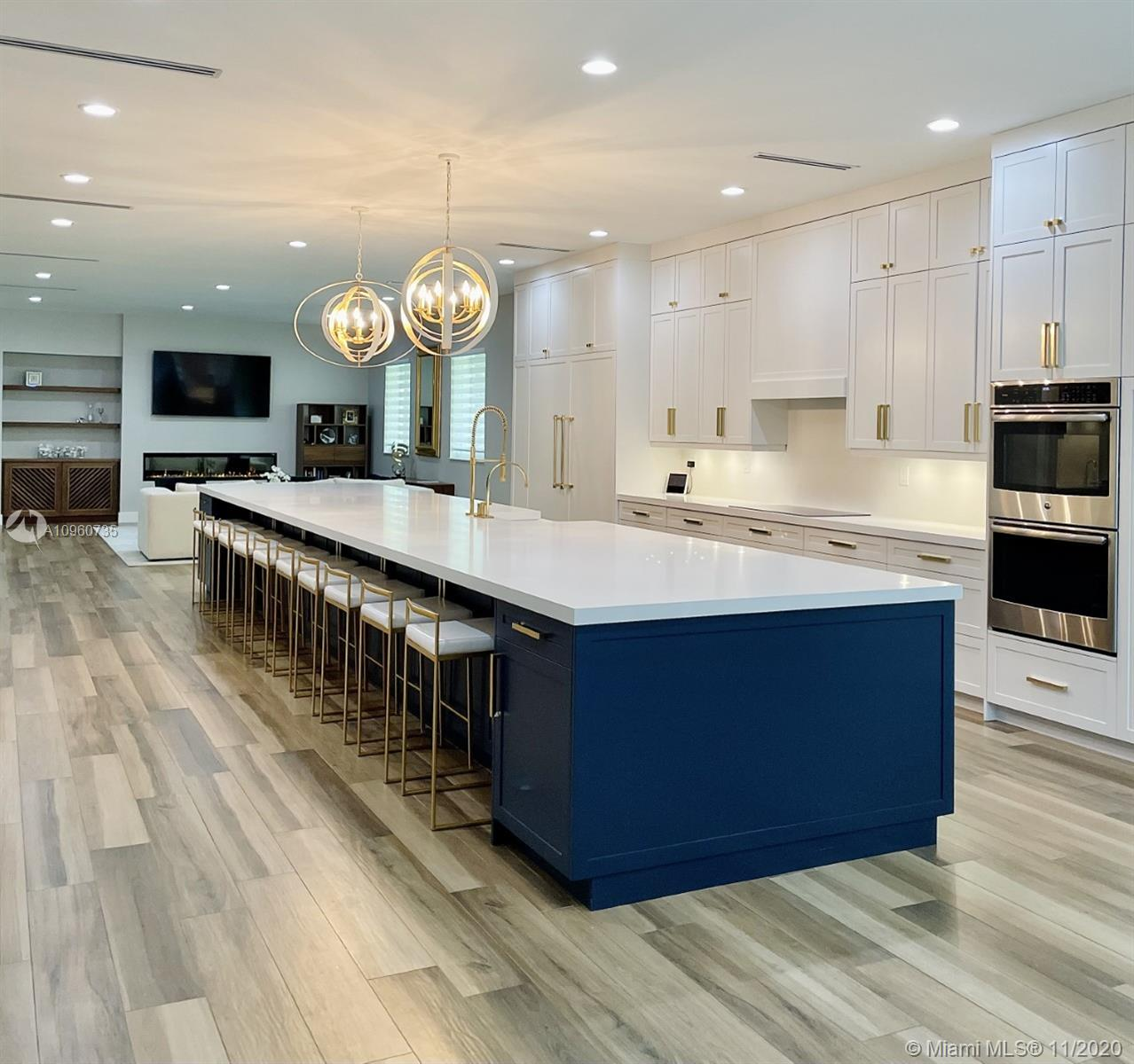 Sophisticated and stylish, custom home built in 2019 on one of the most desirable lots in South Miami. This home is perfect for large or extended families and for entertaining family and friends.  No expense was spared with this classic contemporary design featuring an open floor plan with 10 foot ceilings throughout. The custom-built kitchen features an extraordinary 25 foot island with a large walk-in pantry. Great for indoor/outdoor entertaining with an over 900 sqft covered terrace overlooking a brand new 35 x 17 heated saltwater pool. Easy access to highways, great schools, and shopping nearby, Your dream home awaits.