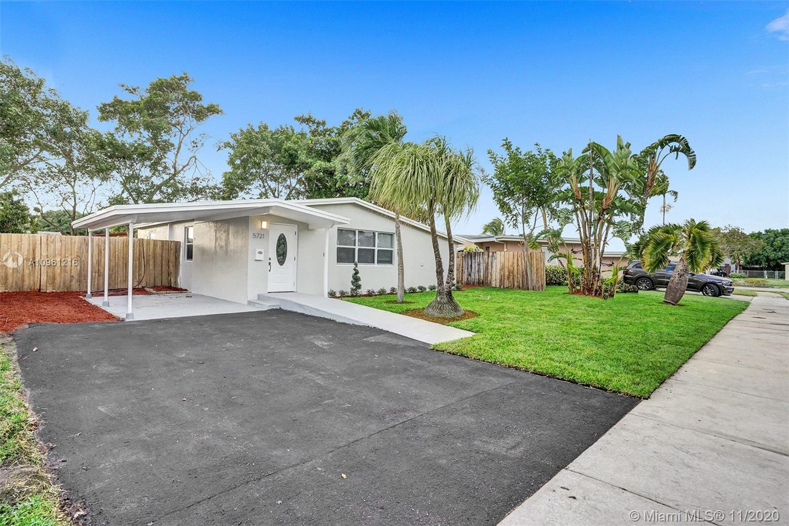 BEAUTIFULLY FULLY REMODELED 3 BEDROOM 2 BATHROOM HOME IN THE HEART OF OAKLAND PARK! PERFECT TURN-KEY HOME OR VACATION RENTAL OPPORTUNITY! HOME FEATURES ALL HURRICANE IMPACT WINDOWS AND DOORS, 2018 SHINGLE ROOF, 2010 A/C UNIT, NEW ELECTRIC TANKLESS WATER HEATER, NEW BATHROOMS, NEW IRRIGATION SYSTEMS WITH NEW PLANTS, NEW CUSTOM KITCHEN WITH HIGH-END EUROPEAN CABINETS, BRAND NEW STAINLESS STEEL APPLIANCES, QUARTZ COUNTERTOP, RECESSED LIGHTING THROUGHOUT, VERY LARGE BACKYARD NICE FOR ENTERTAINMENT OR TO BUILD A POOL, SPACIOUS DRIVEWAY WITH CARPORT, FRESHLY PAINTED INSIDE/OUT, SHED IN THE BACKYARD CONVEY... MINUTES FROM SCHOOLS, BEACH, SHOPPING PLAZAS, ETC... HURRY THIS WONT LAST LONG!!