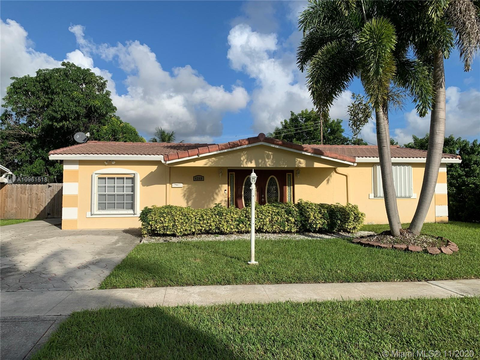 The only home for sale in charming Oriole Estates! Come see this lovely 3/2 home with bonus room that could easily be converted to a 4th bedroom! Beautiful curb appeal - nicely landscaped with foxtail trees, green shrubs and completely fenced yard - new automatic sprinkler pump. Accordian hurriance shutters on all windows and panels for front door (automatic insurance discount $$$). This home also features 5 Night Owl security cameras and dawn-to-dusk exterior lights for added peace of mind. New A/C with 10 year warranty and fridge recently installed. Tons of potential, just waiting on the right buyer to add their personal touch. This home will sell quickly, so call today for a showing!