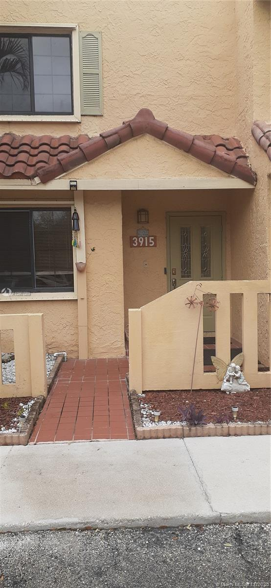 Back on the market. VACANT. Remodeled and freshly painted townhouse right on the water. Located in desirable Welleby in Sunrise. Spacious 3 Bedrooms and 3 full Bathrooms, 1680 sq. ft. built in 1984. One bedroom and bathroom conveniently located downstairs.  Large Master bedroom with walk-in-closet. Upgraded kitchen with stainless steel appliances. Granite countertop and eat in kitchen. Open floor plan downstairs with crystal chandelier.Tile throughout upstairs and downstairs. Close to the Sawgrass Mills mall, Bank Atlantic Center, A+ schools and major highways. Playground on premises. Low HOA of $135 per month. Two reserved parking spaces and plenty of guest spaces. Indoor Laundry Room.