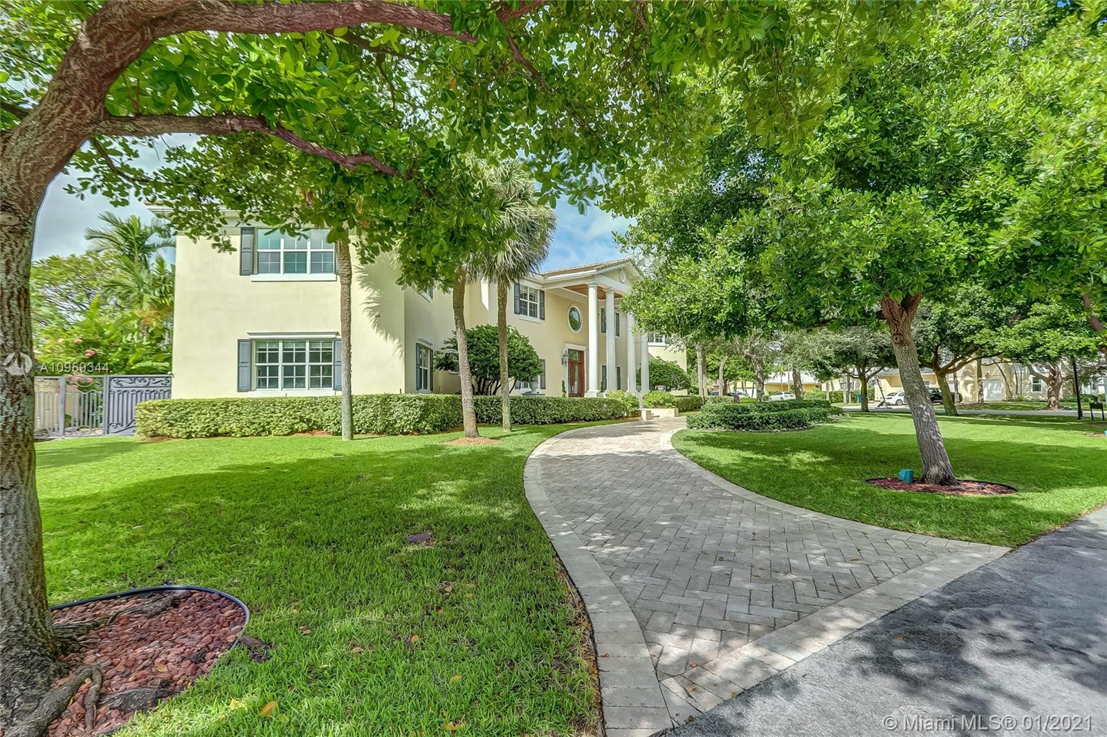 Highly desirable Sunrise Intracoastal gated community, top rated Bayview School District.  Walk to beach, Galleria Mall, entertainment & restaurants.  This versatile large residence sits on a corner lot, built in 2007, impact glass, great for entertaining w/huge covered marble terrace with summer kitchen: wet bar, grill, storage, fridge. Generator. 1st level: Tall ceiling foyer entry, large open kitchen with walk in pantry, family room, 2 half baths, 1 bedroom with ensuite bath, room with 3 individual office stations (could be 5th Bedroom),  game room with pool table, private formal dining room, piano room.  2nd level: Master Suite w/oversize sitting area/living room (could be split into 6th bedroom),  media room/entertainment complete with full bar, icemaker, dishwasher and refrigerator.