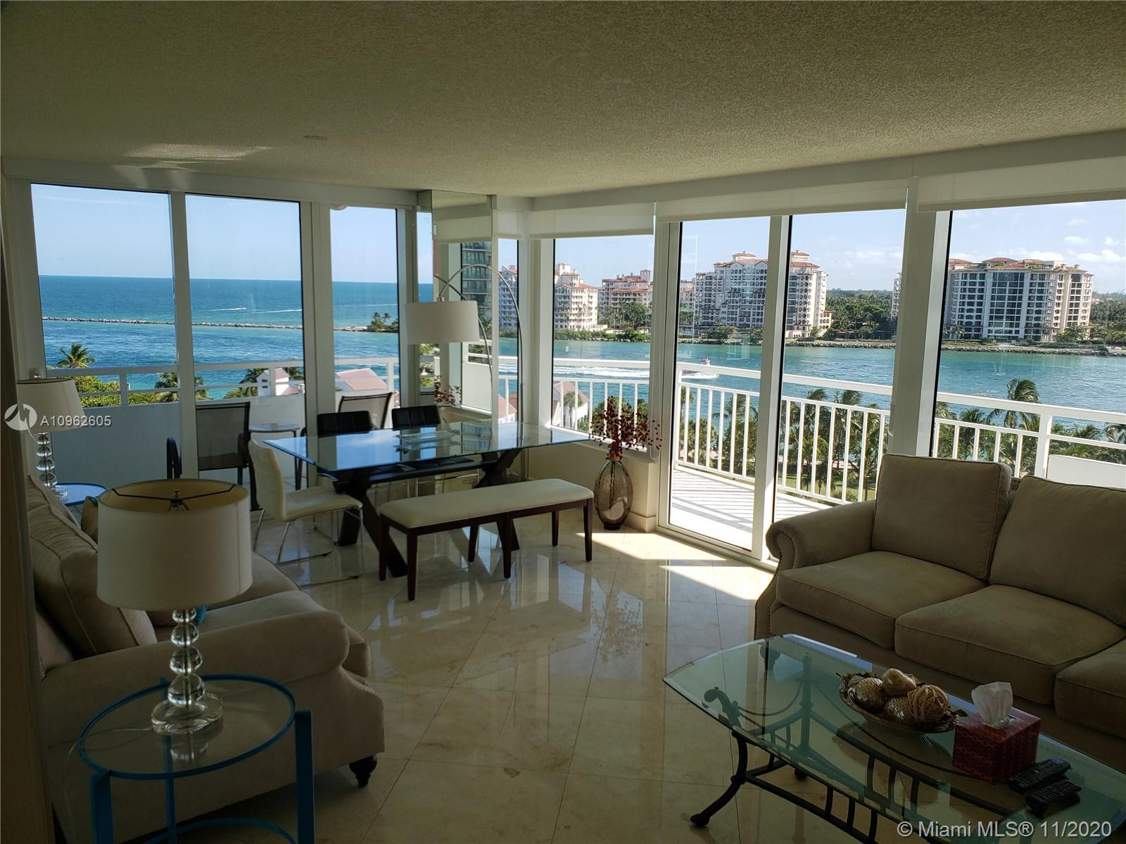 Best Location in South Beach and Best Location in Building S.W. Corner. Magnificent Views of City, OCEAN and Fisher Island.  2 Bedrooms 2 baths. 1,250 SF Living Space. 259 wraparound Terrace, Total 1,509 SF. Hurricane Windows.