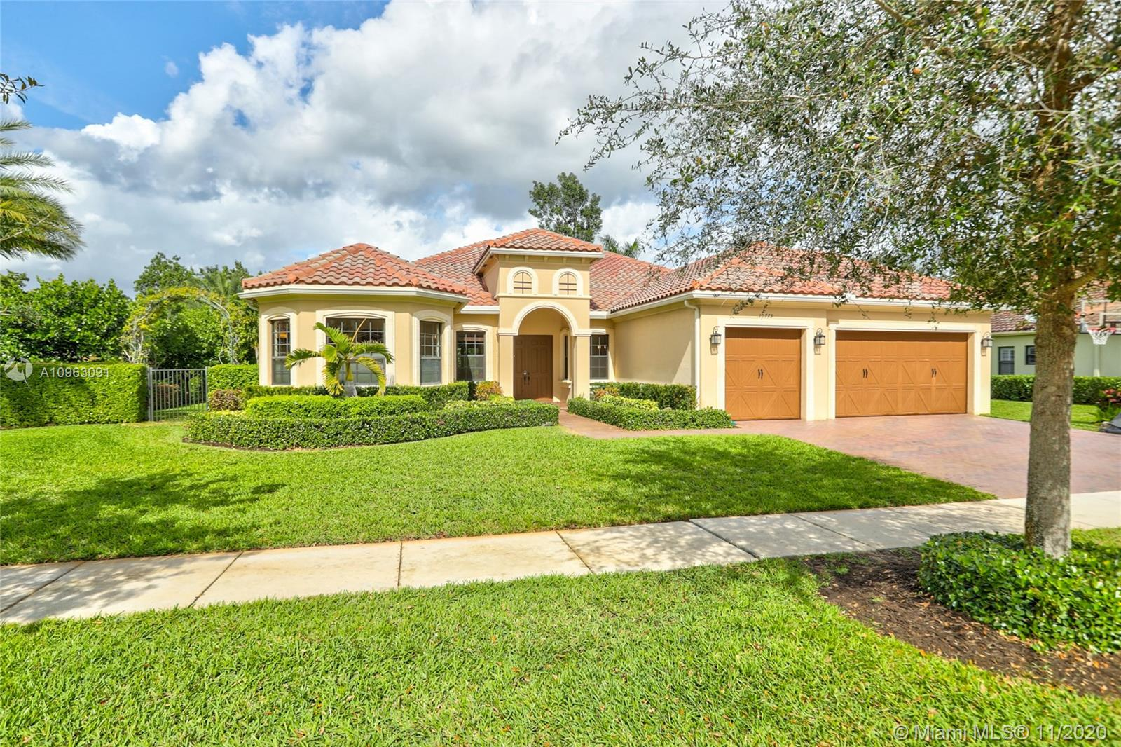 Beautiful estate home in highly desired Cooper City.  Home features 5 bedrooms, 3 baths with tile floors throughout.  Newly painted and completely turn-key, home is literally move-in ready.  Backyard is great for entertaining, featuring a custom Van Kirk pool and a fire pit.  Neighborhood is very quaint with only 20 homes, security gate at front.  All Cooper City A+ rated schools.  Call today for a showing!